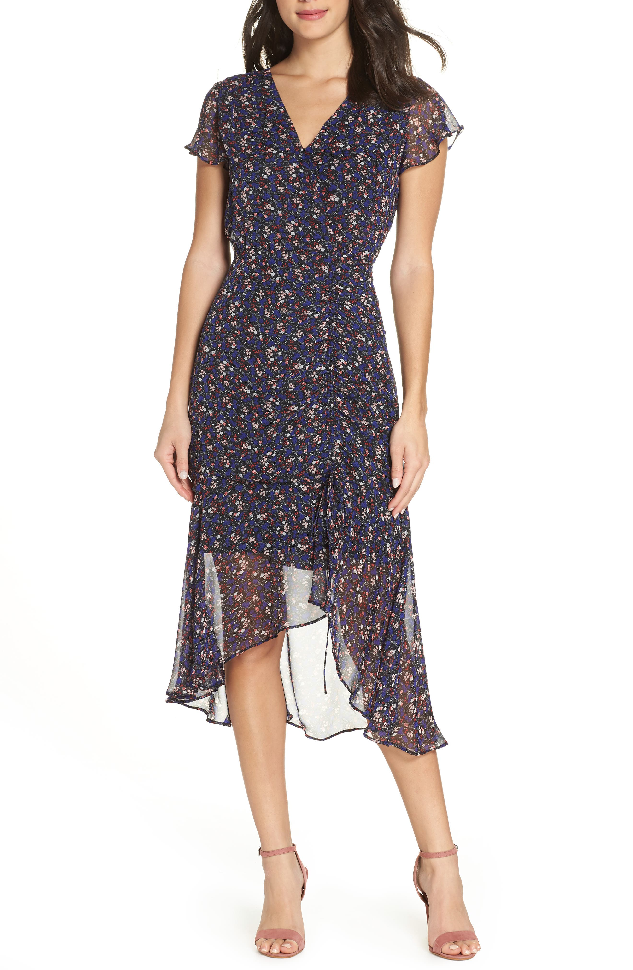 Sam Edelman Ditzy Print Ruched Midi Dress, Purple