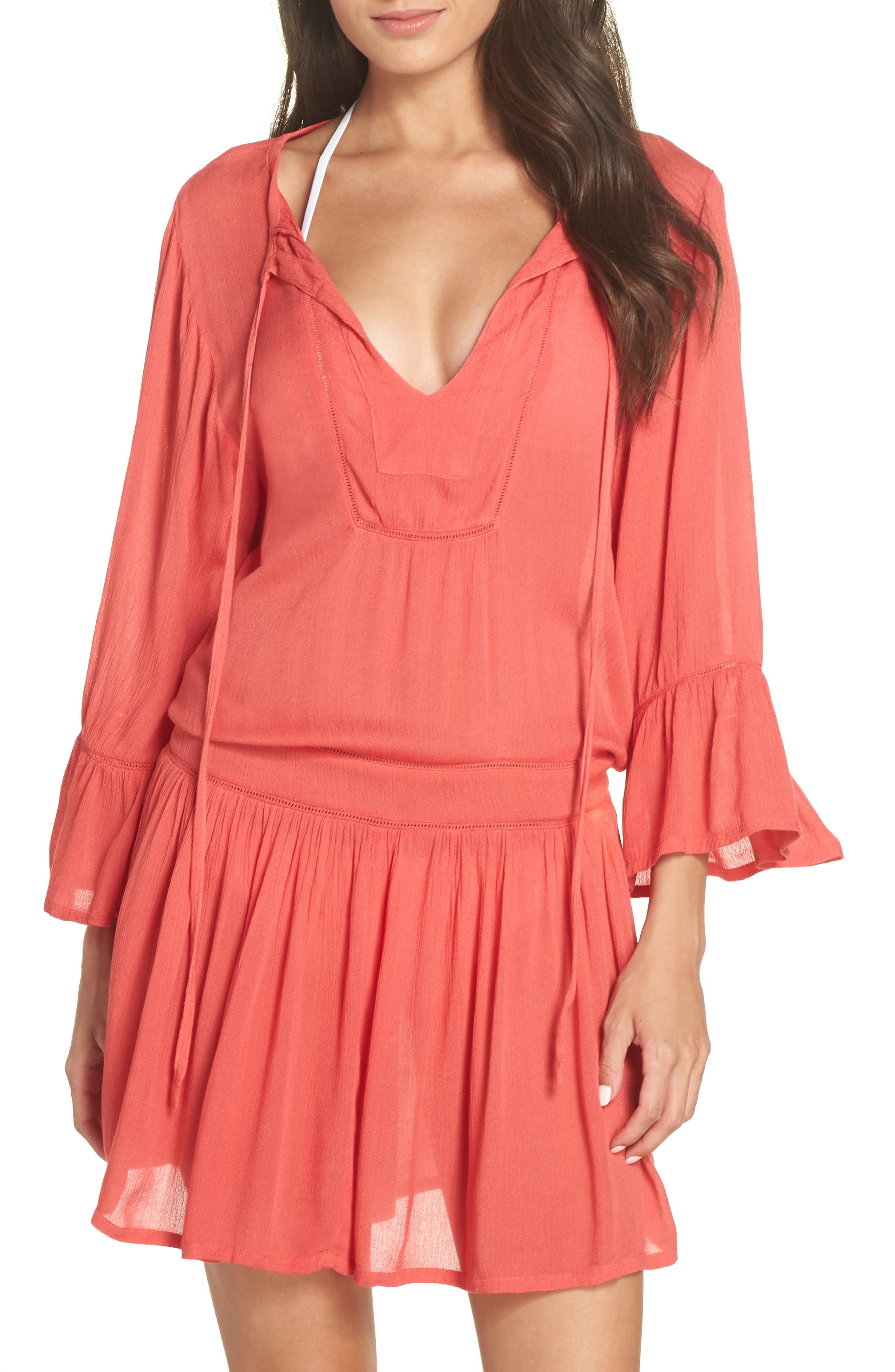 VIX SWIMWEAR Agatha Cover-Up Dress in Coral