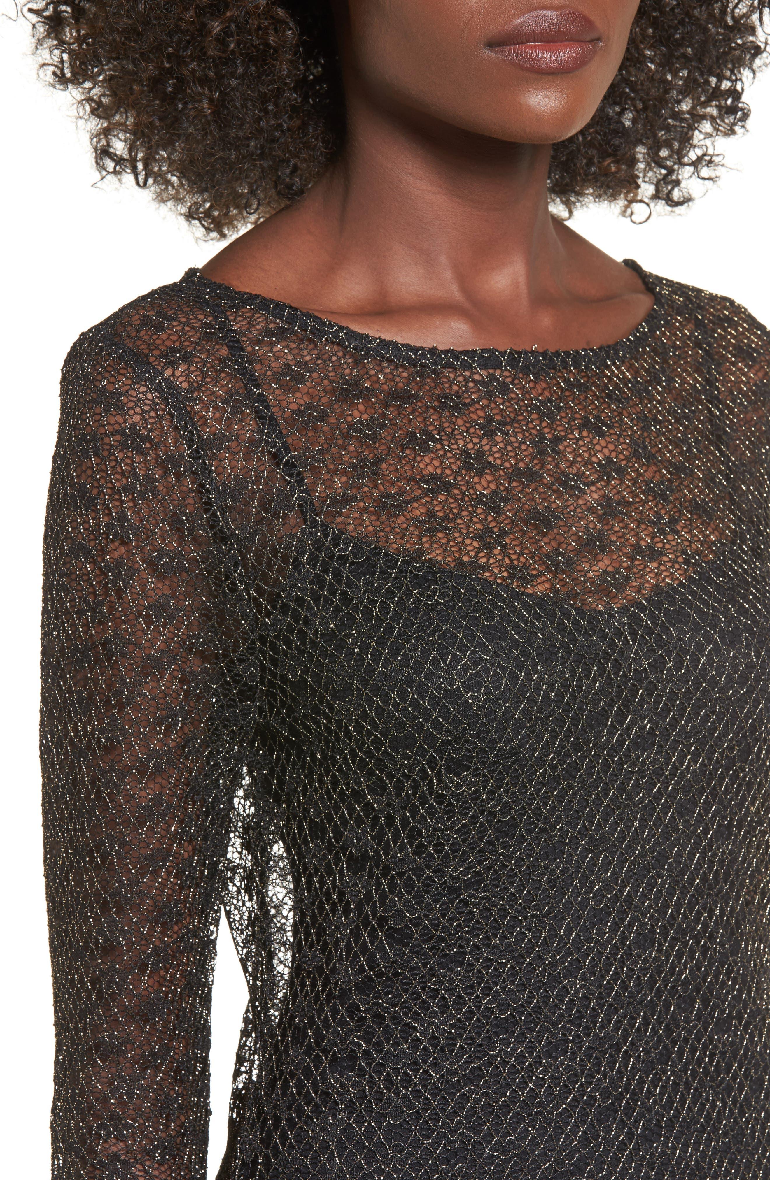 Paisley Sheer Mesh Dress,                             Alternate thumbnail 4, color,                             005