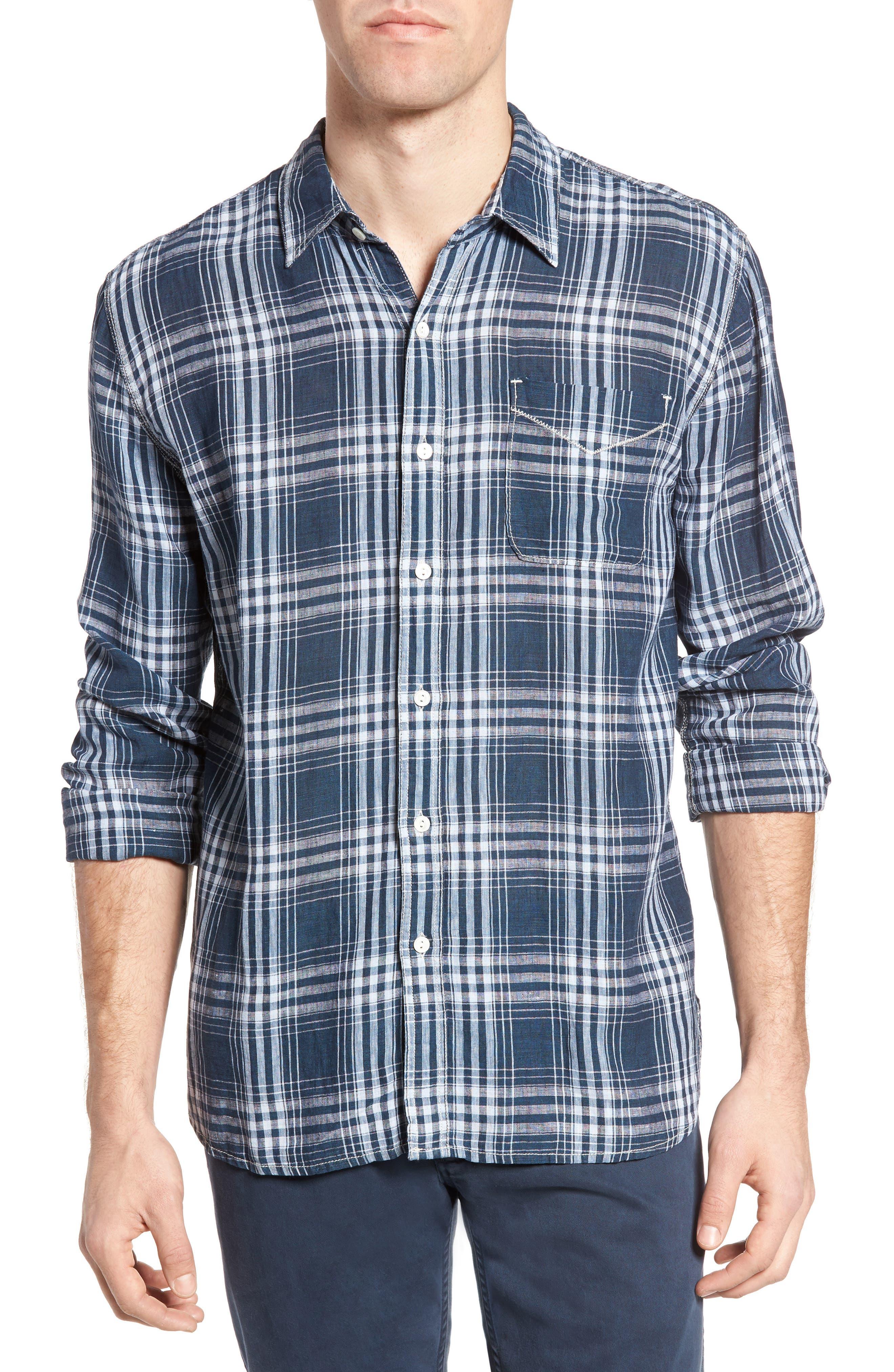 Indigo Plaid Sport Shirt,                         Main,                         color, 405