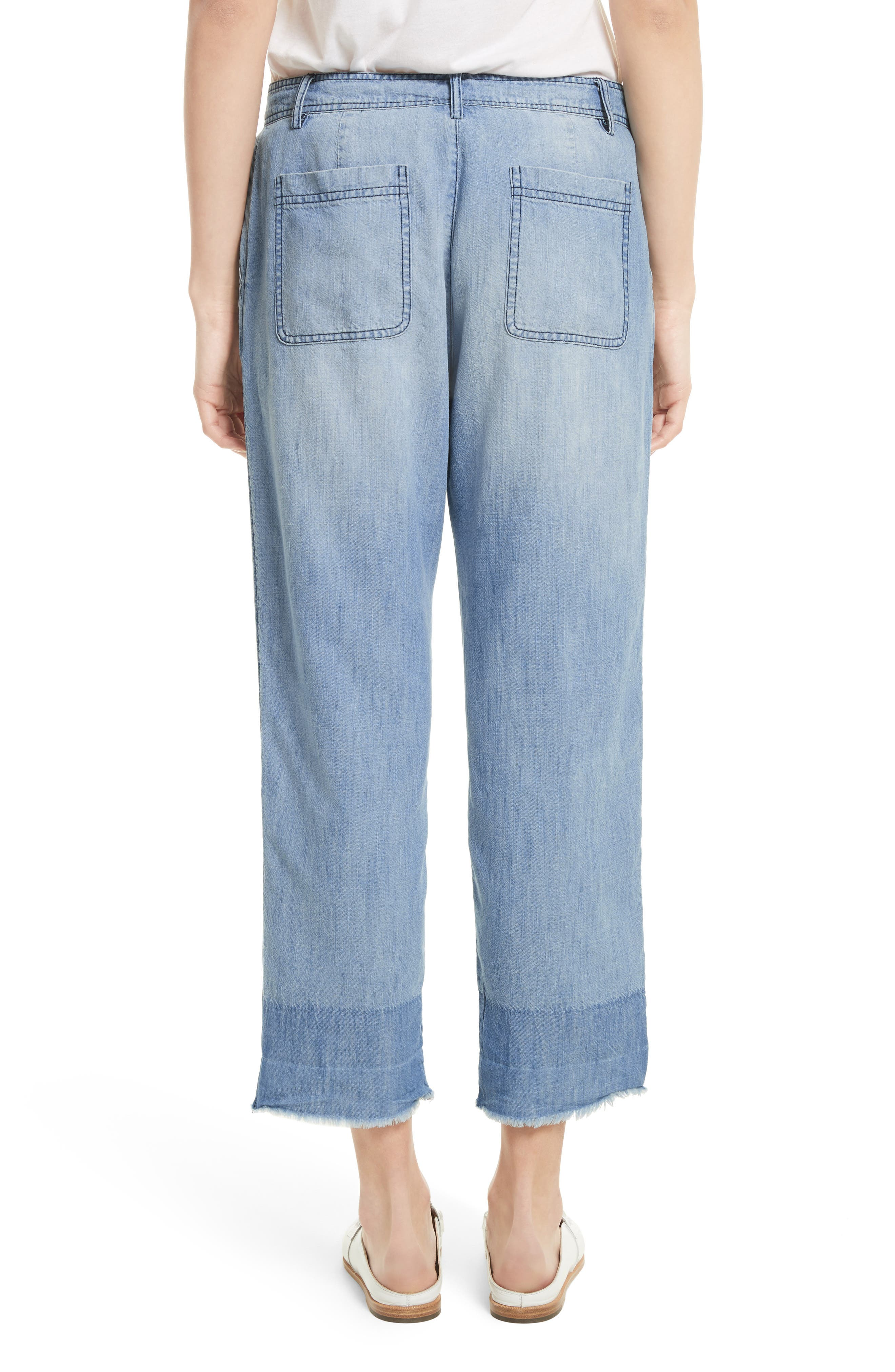 Marinne Crop Chambray Pants,                             Alternate thumbnail 2, color,