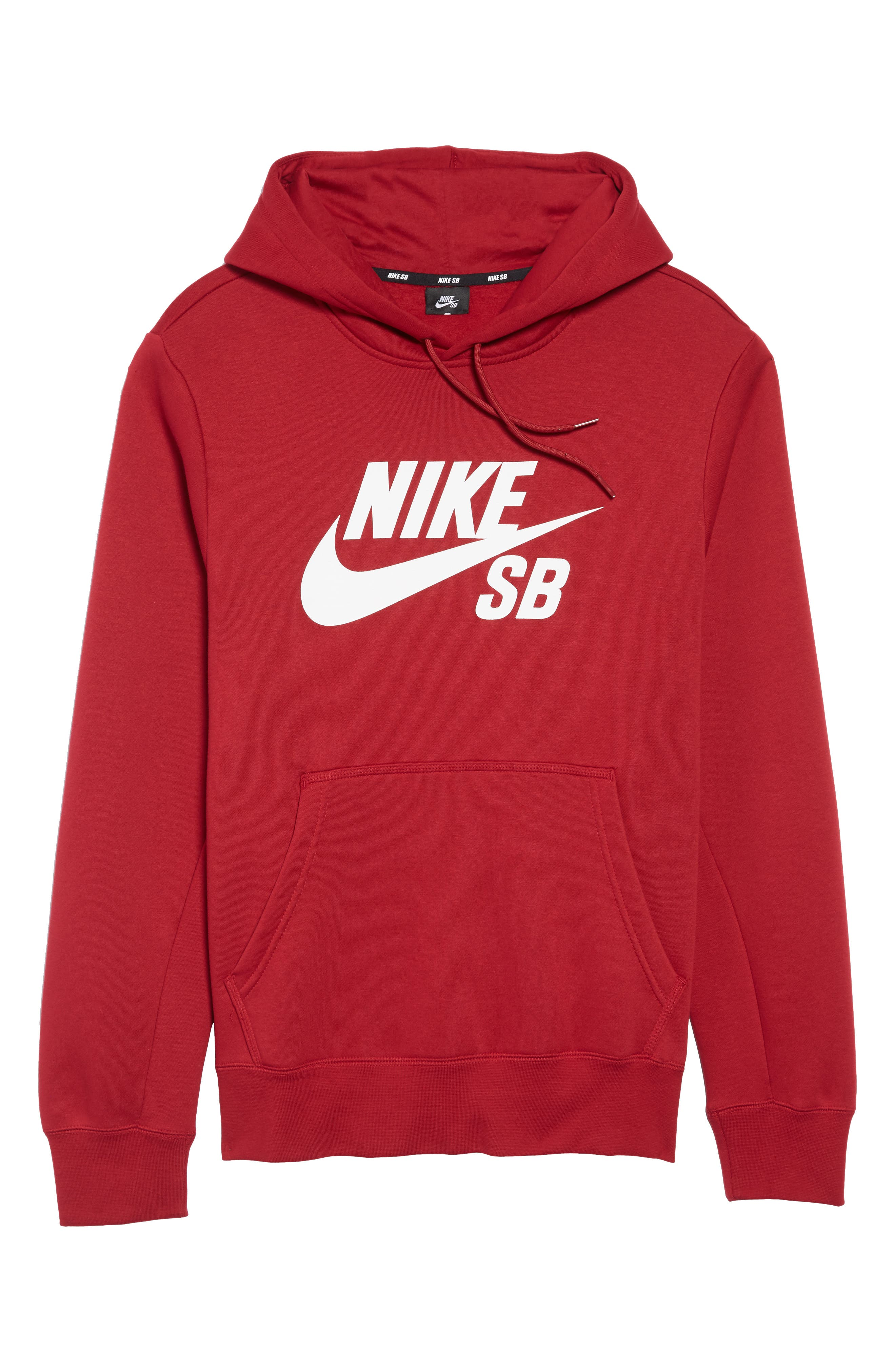 NIKE SB,                             Icon Essential Hoodie,                             Alternate thumbnail 6, color,                             RED CRUSH