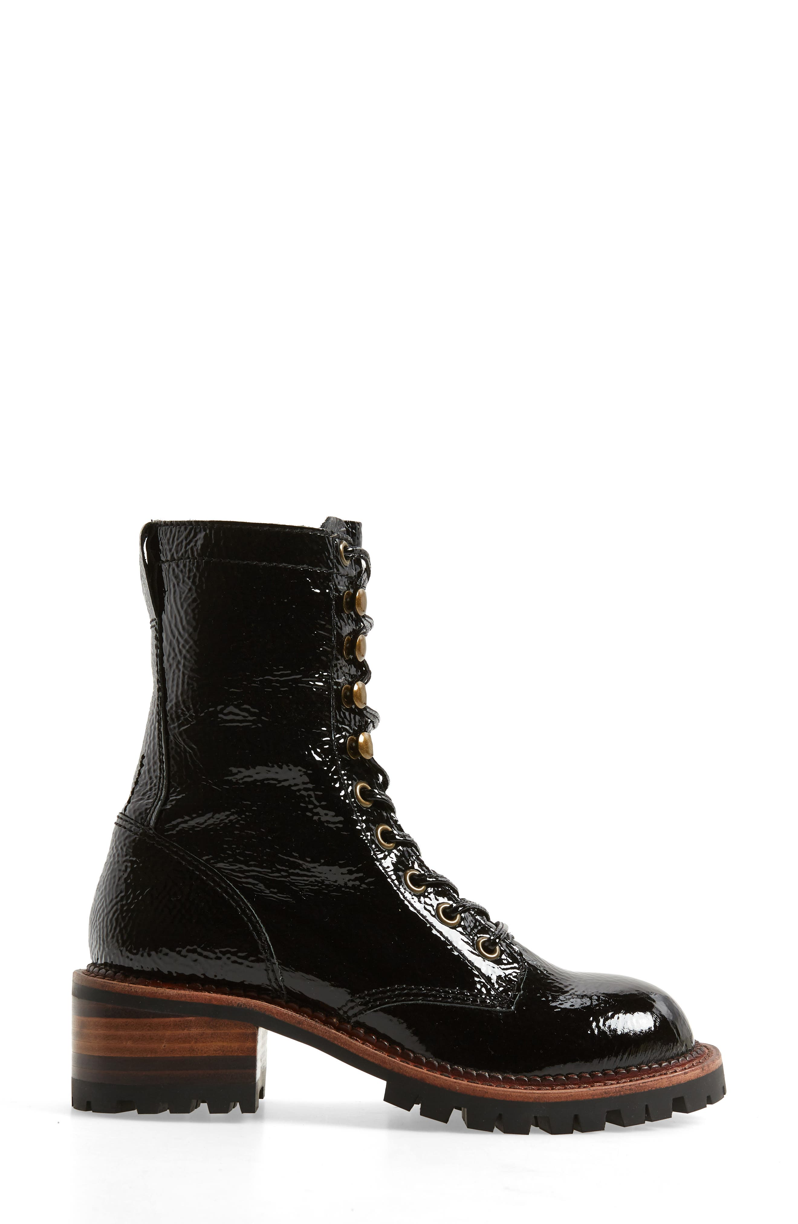 Sycamore Patent Leather Boot,                             Alternate thumbnail 3, color,                             BLACK CRINKLE PATENT LEATHER