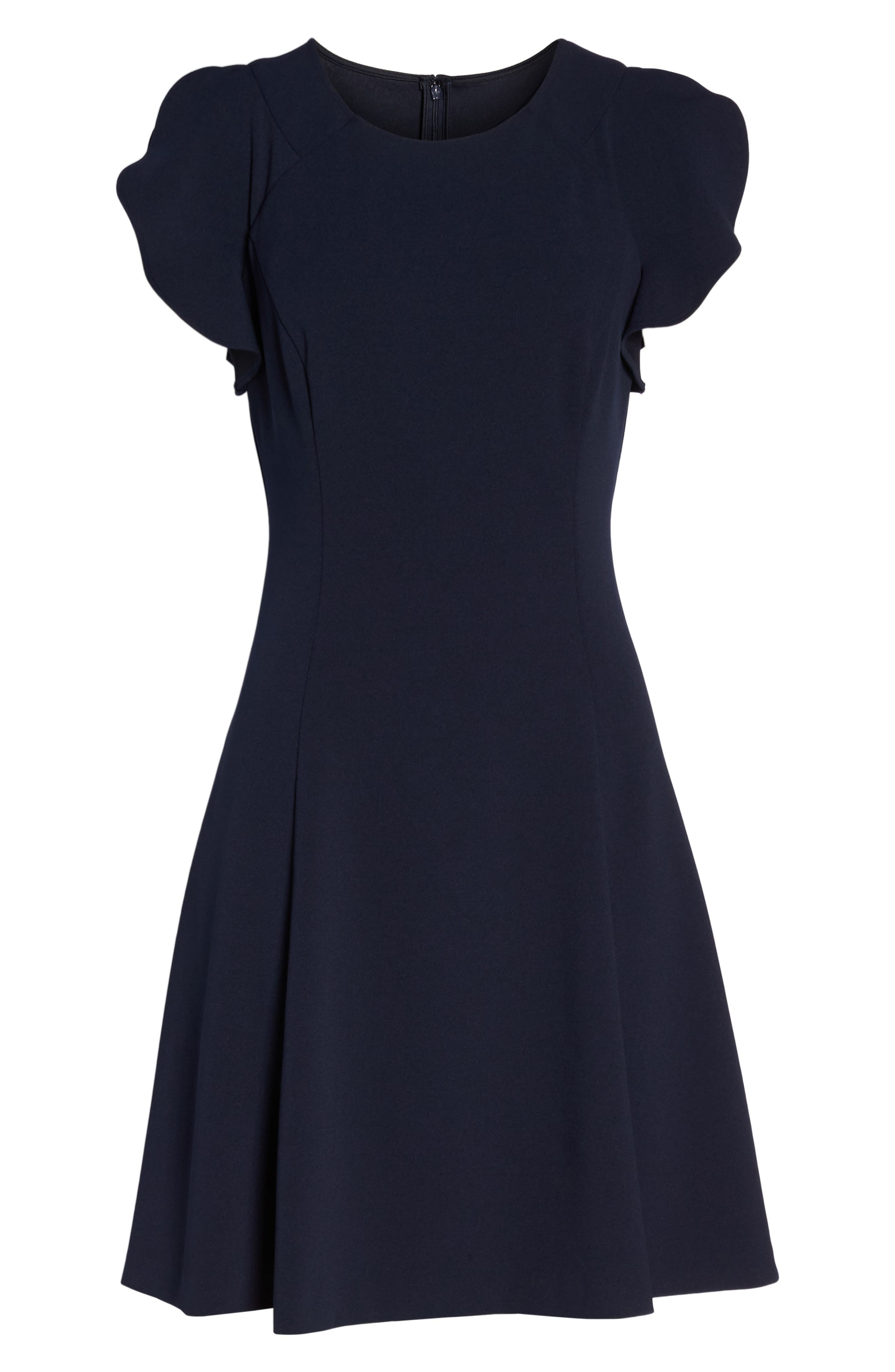Cap Sleeve Scuba Crepe Fit & Flare Dress,                             Alternate thumbnail 7, color,                             410