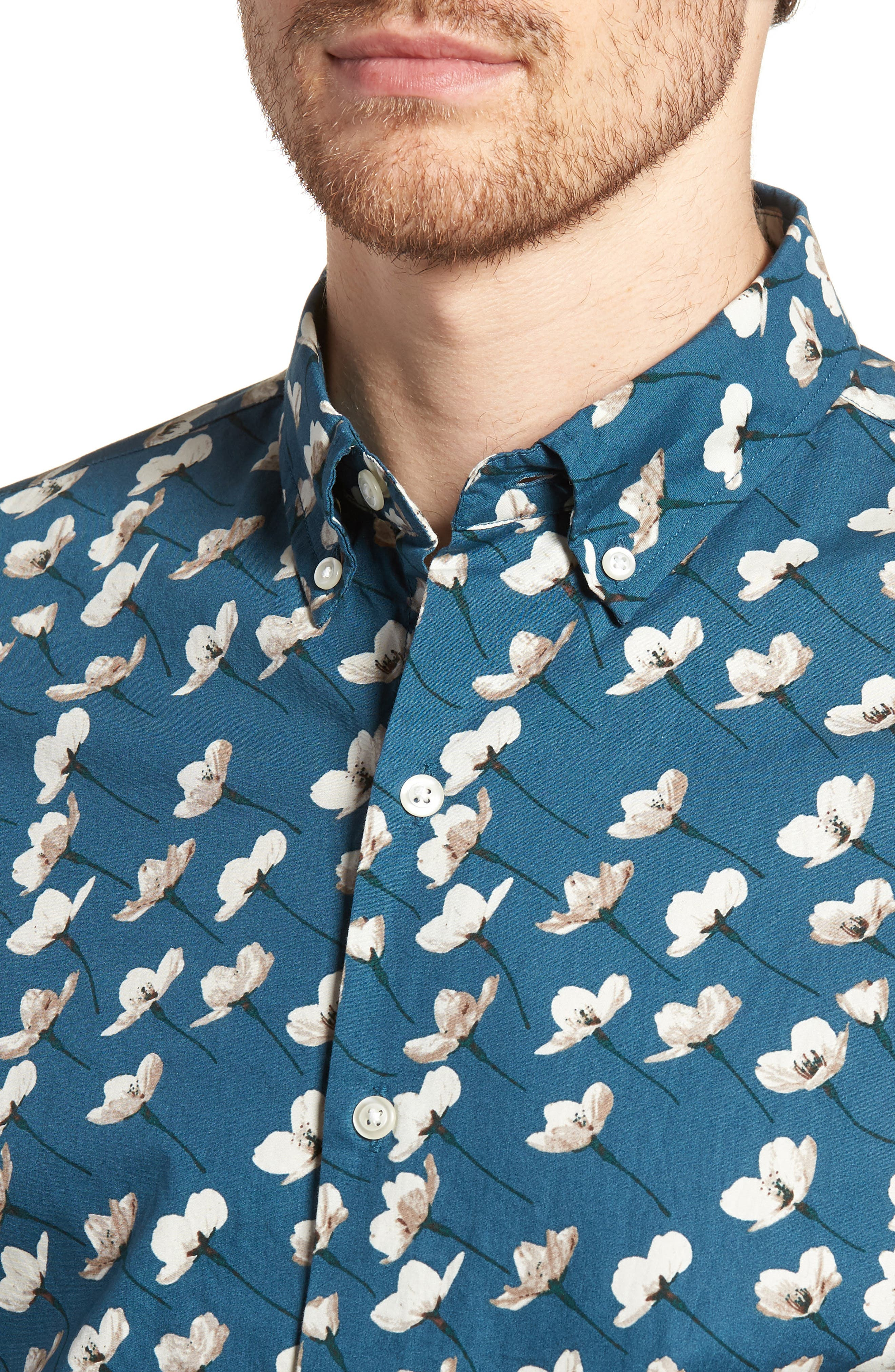 Riviera Slim Fit Cherry Blossom Print Sport Shirt,                             Alternate thumbnail 4, color,                             CHERRY BLOSSOMS-STARGAZER