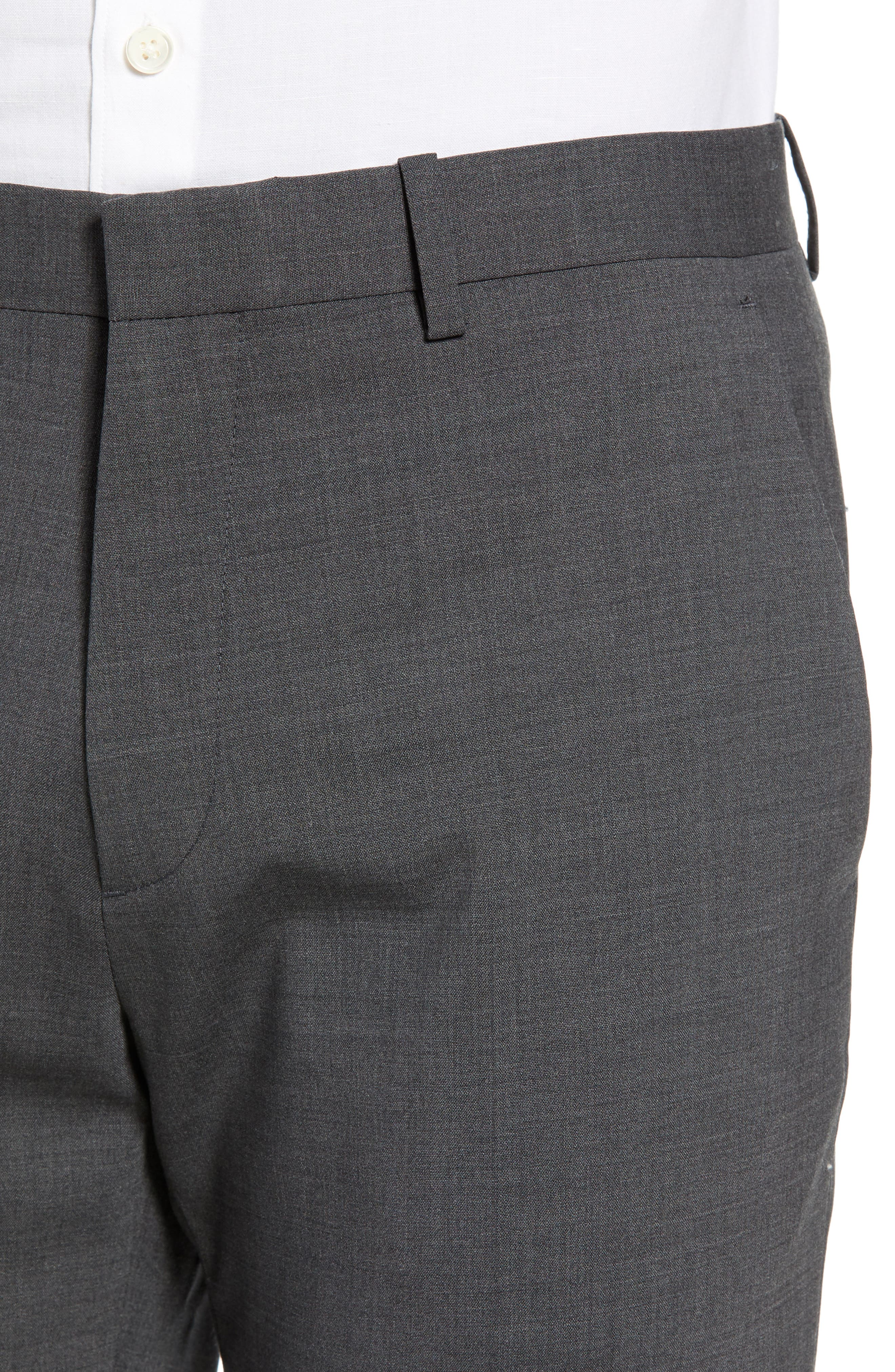 Mayer New Tailor 2 Wool Trousers,                             Alternate thumbnail 4, color,                             CHARCOAL