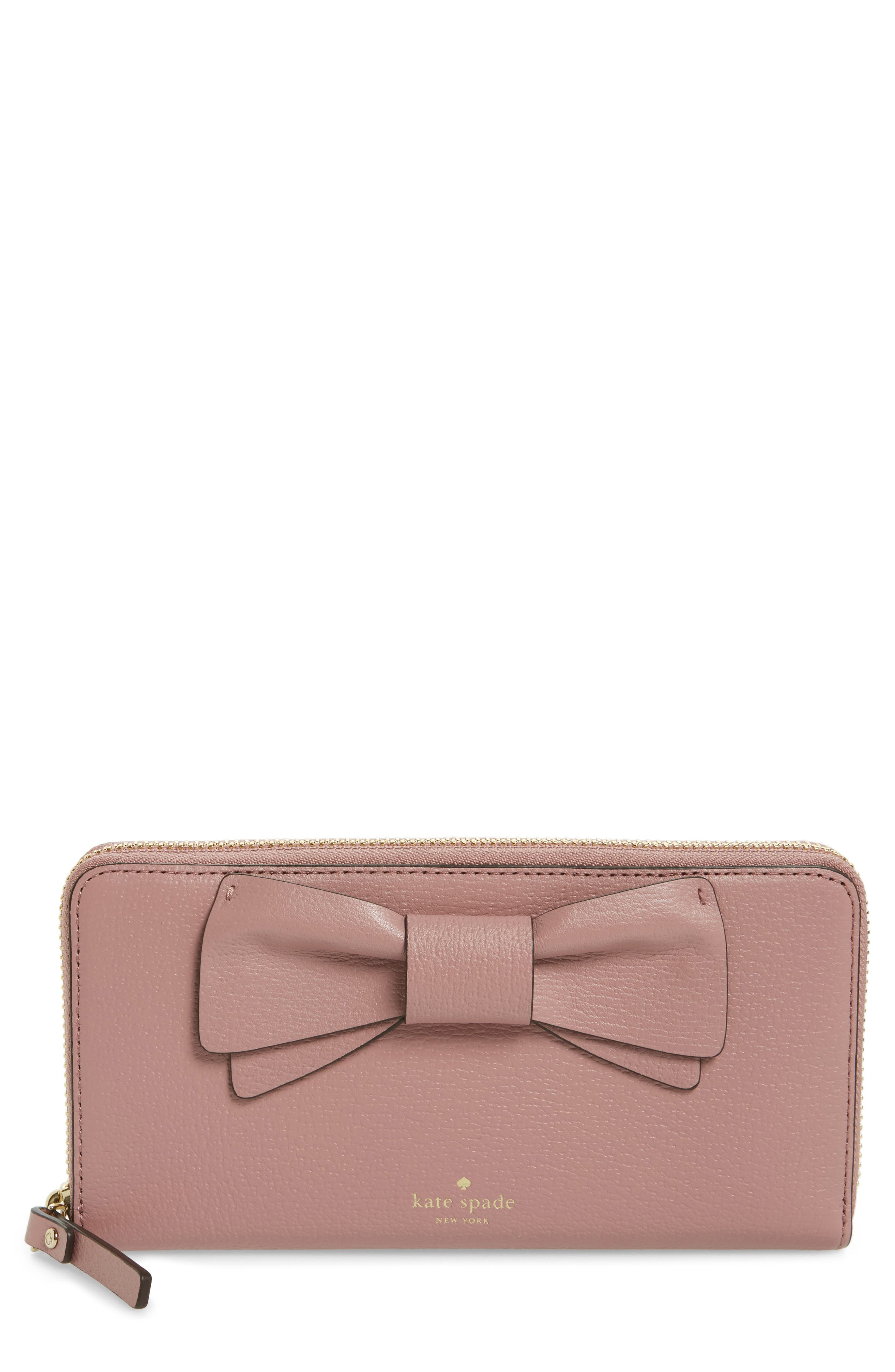 olive drive - lacey bow leather wallet,                             Main thumbnail 2, color,