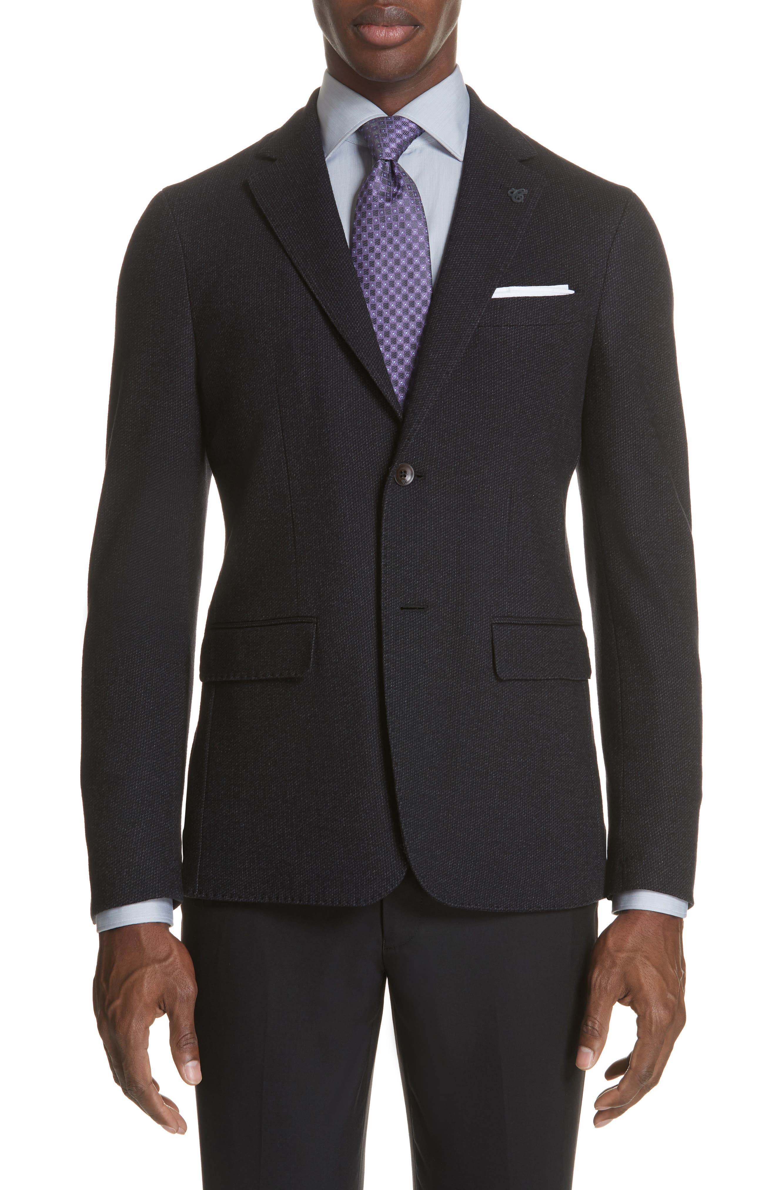 Slim Fit Wool & Cotton Blazer,                         Main,                         color, 020