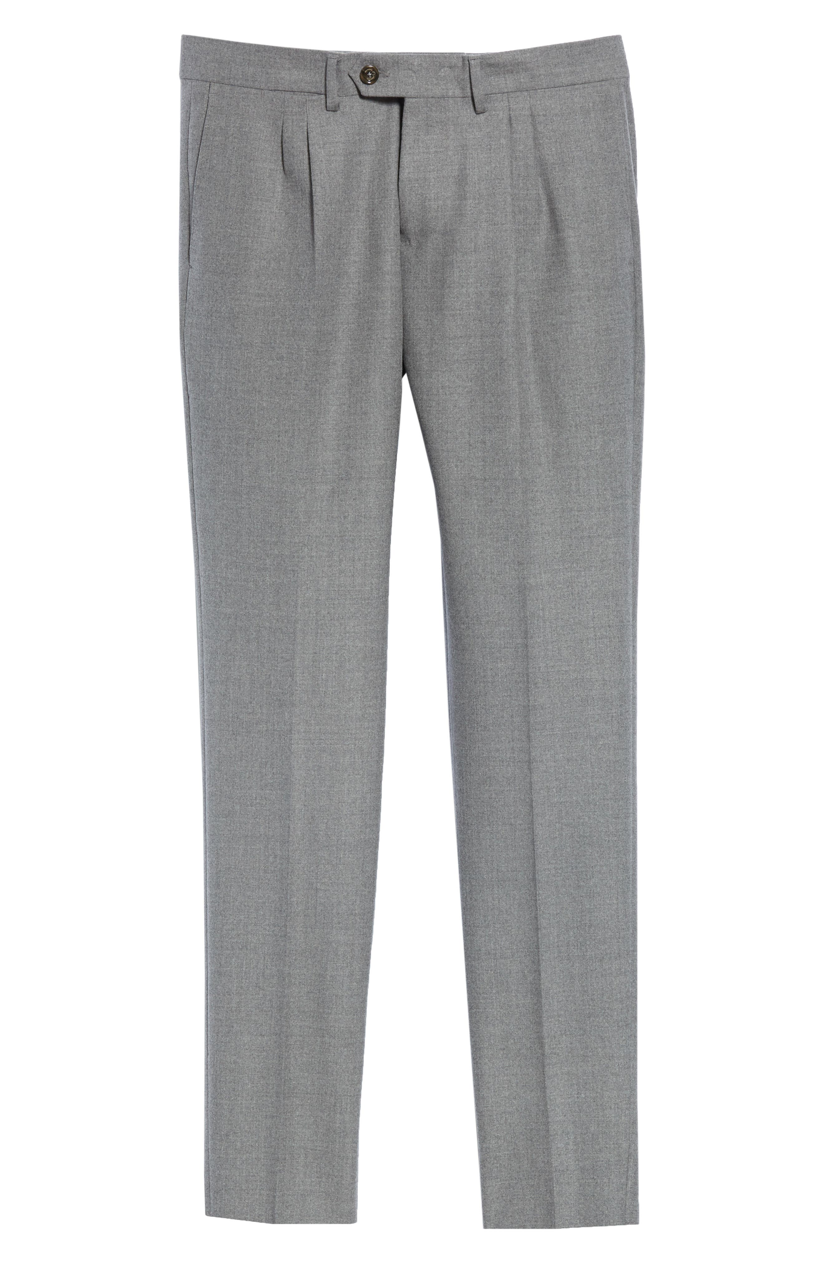Slim Fit Pleated Stretch Wool Trousers,                             Alternate thumbnail 6, color,                             MID GREY