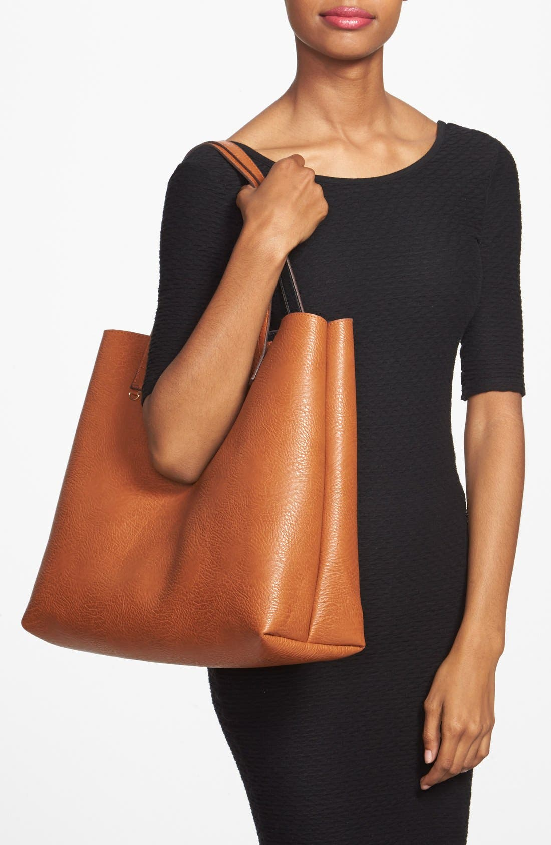STREET LEVEL,                             Reversible Faux Leather Tote & Wristlet,                             Alternate thumbnail 9, color,                             BLACK/ COGNAC