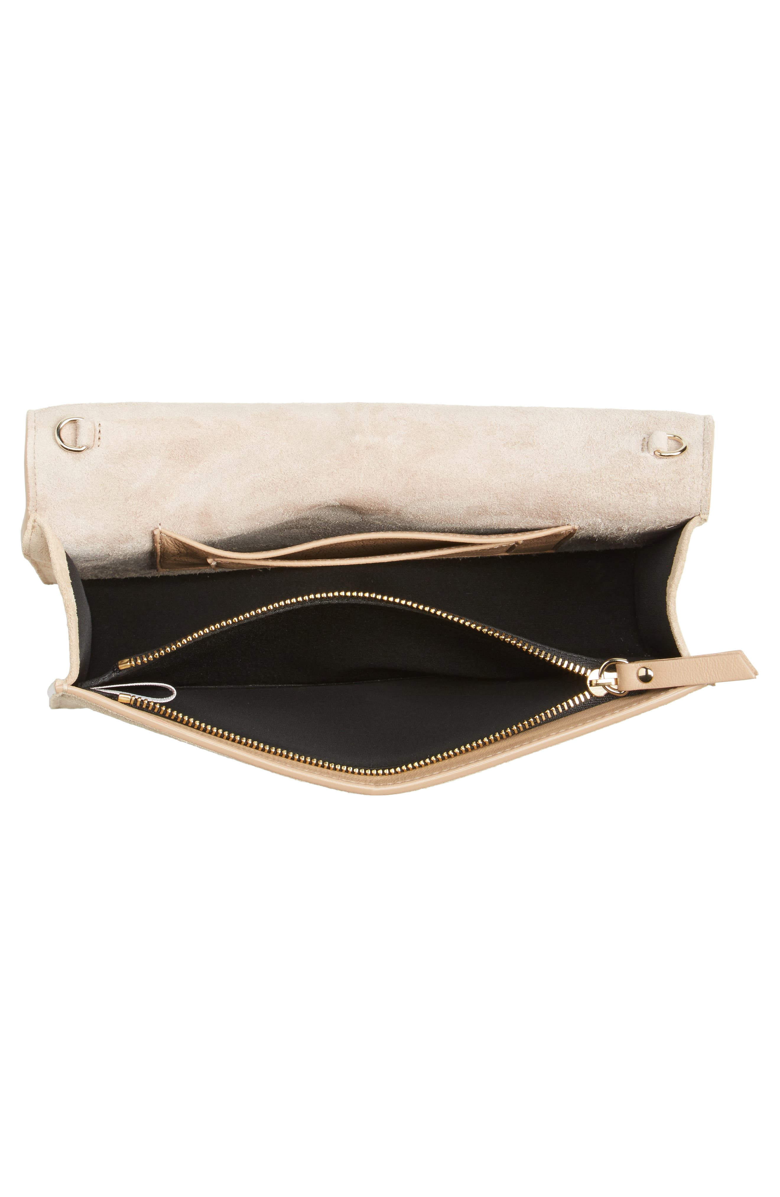 Florence Patent Leather & Suede Clutch,                             Alternate thumbnail 4, color,                             NUDE