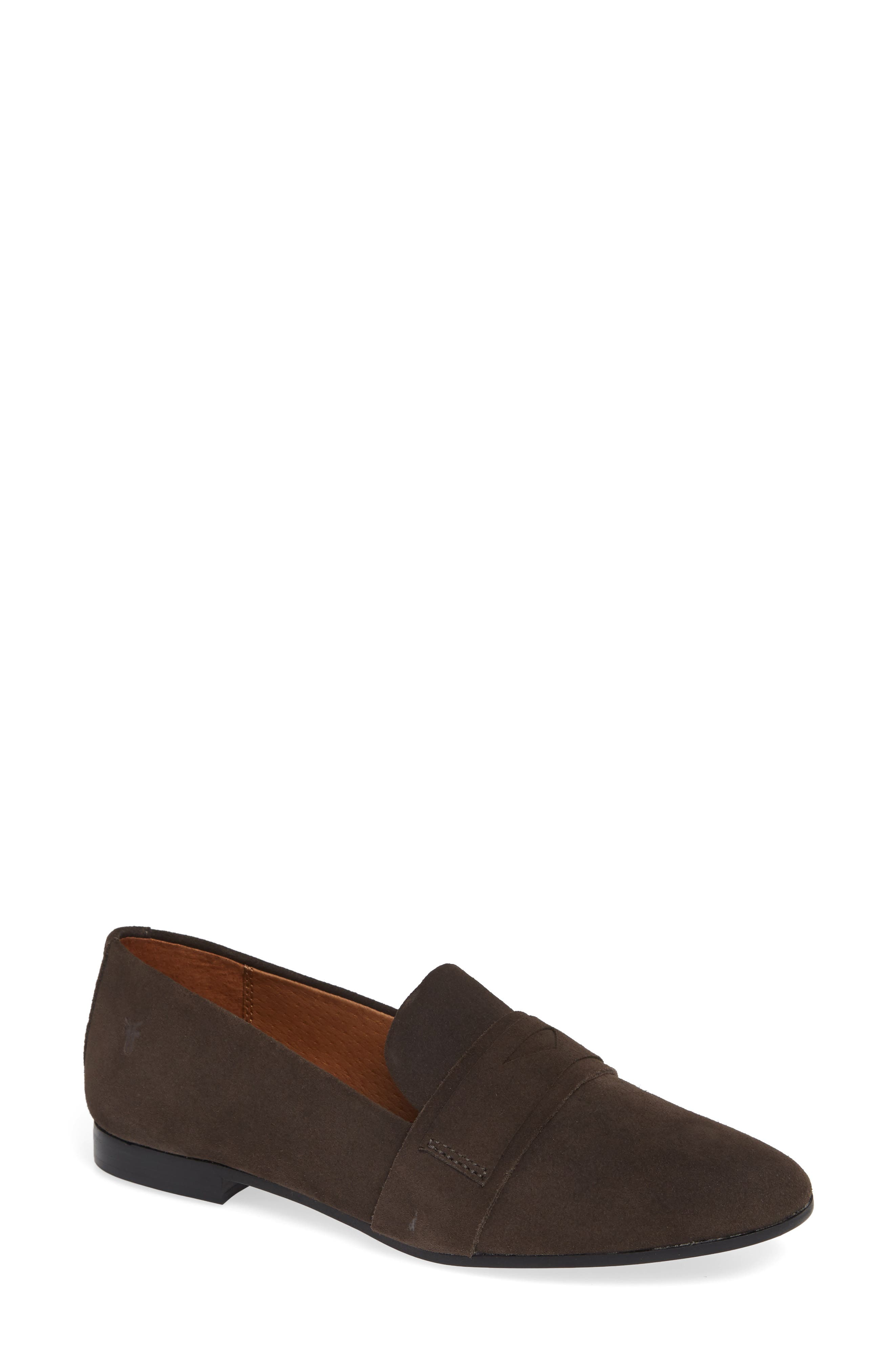 Terri Penny Loafer,                             Main thumbnail 1, color,                             CHARCOAL SUEDE