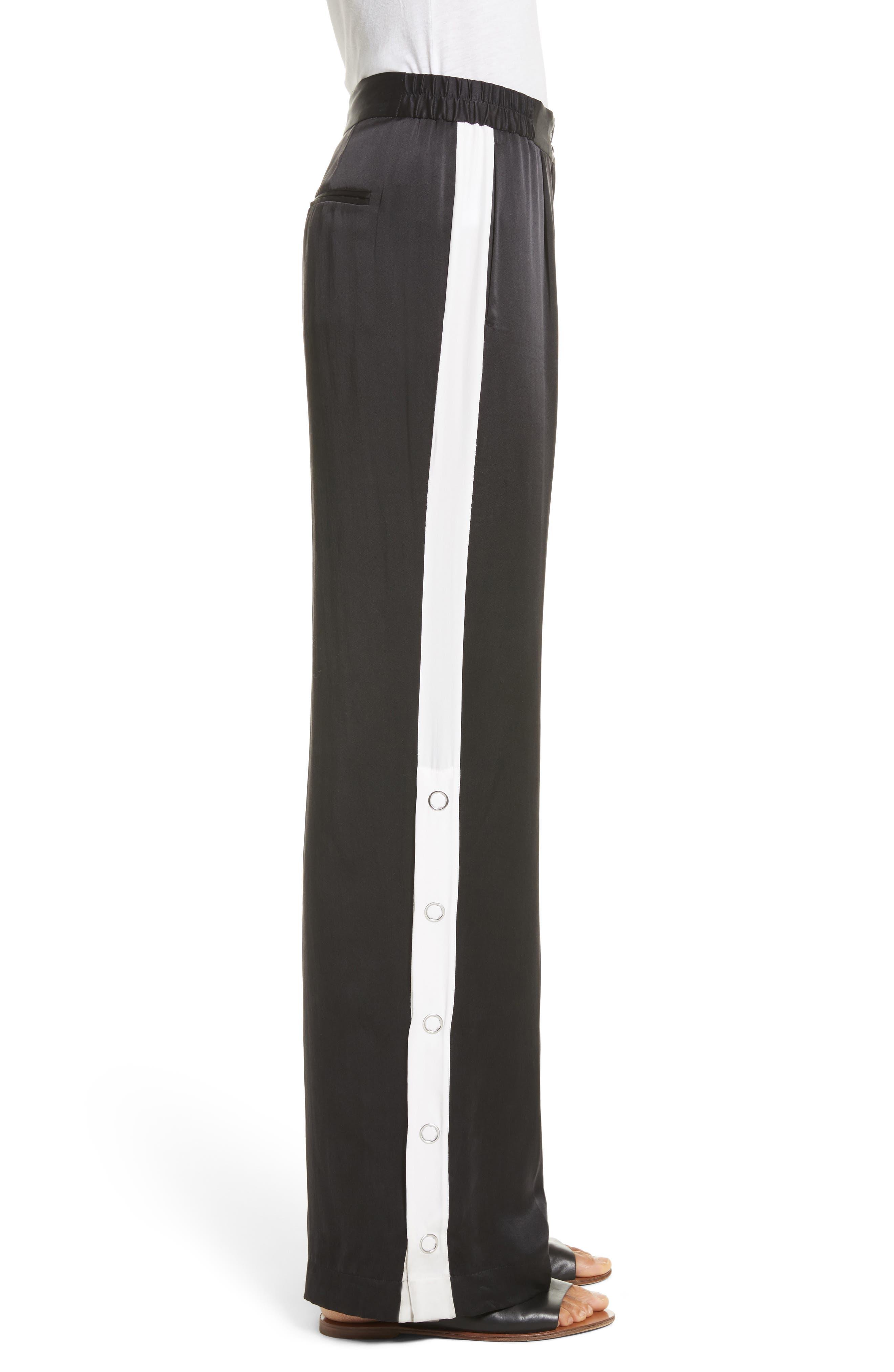 Arwen Wide Leg Silk Pants,                             Alternate thumbnail 3, color,                             003