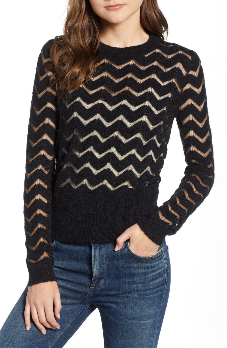Easy Stripe Pullover,                         Main,                         color, BLACK