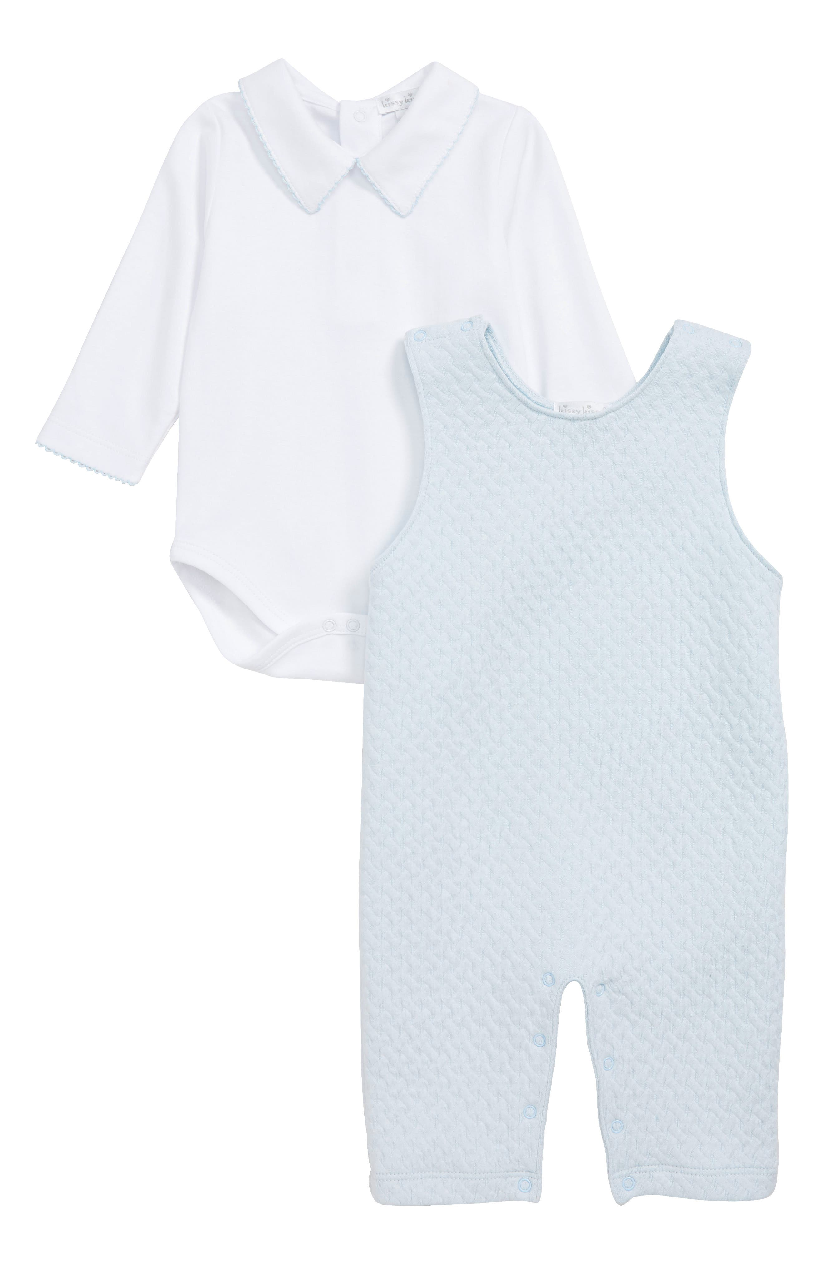 Classic Shirt & Quilted Romper Set,                             Main thumbnail 1, color,                             LIGHT BLUE