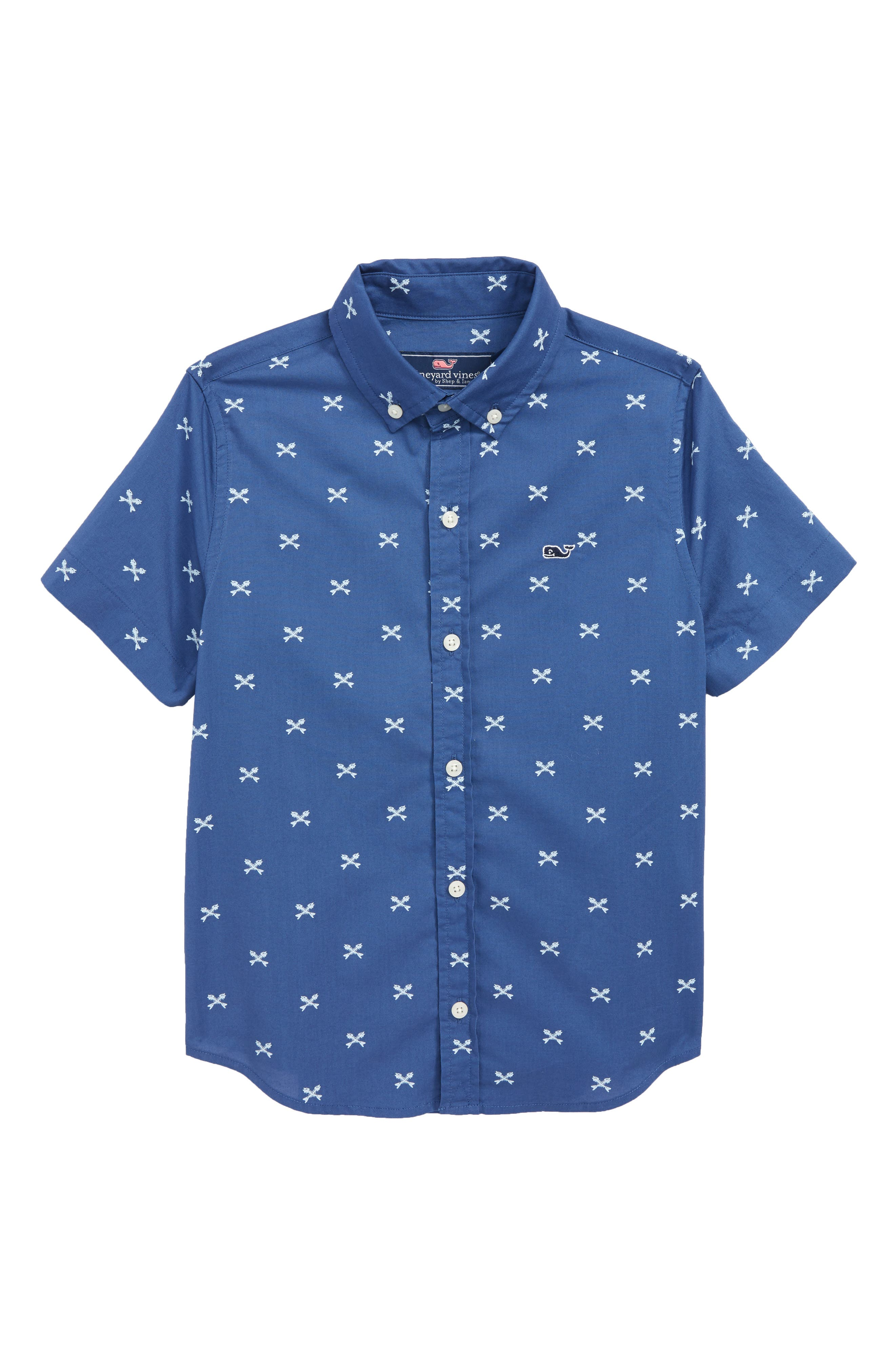 Crossed Fish Bone Short Sleeve Shirt,                         Main,                         color, 461