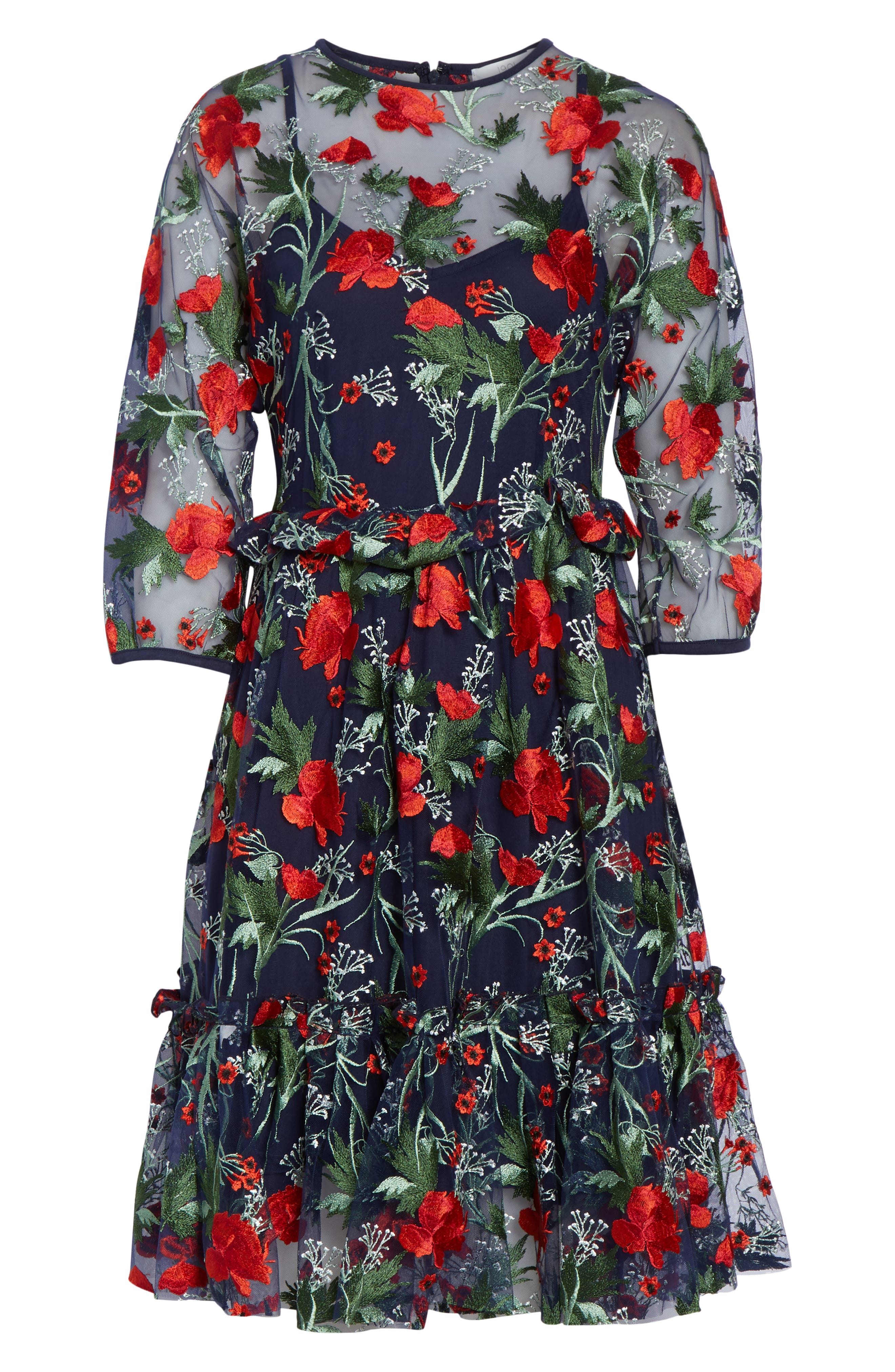 1901,                             Embroidered Mesh Fit & Flare Dress,                             Alternate thumbnail 7, color,                             RED FLORAL