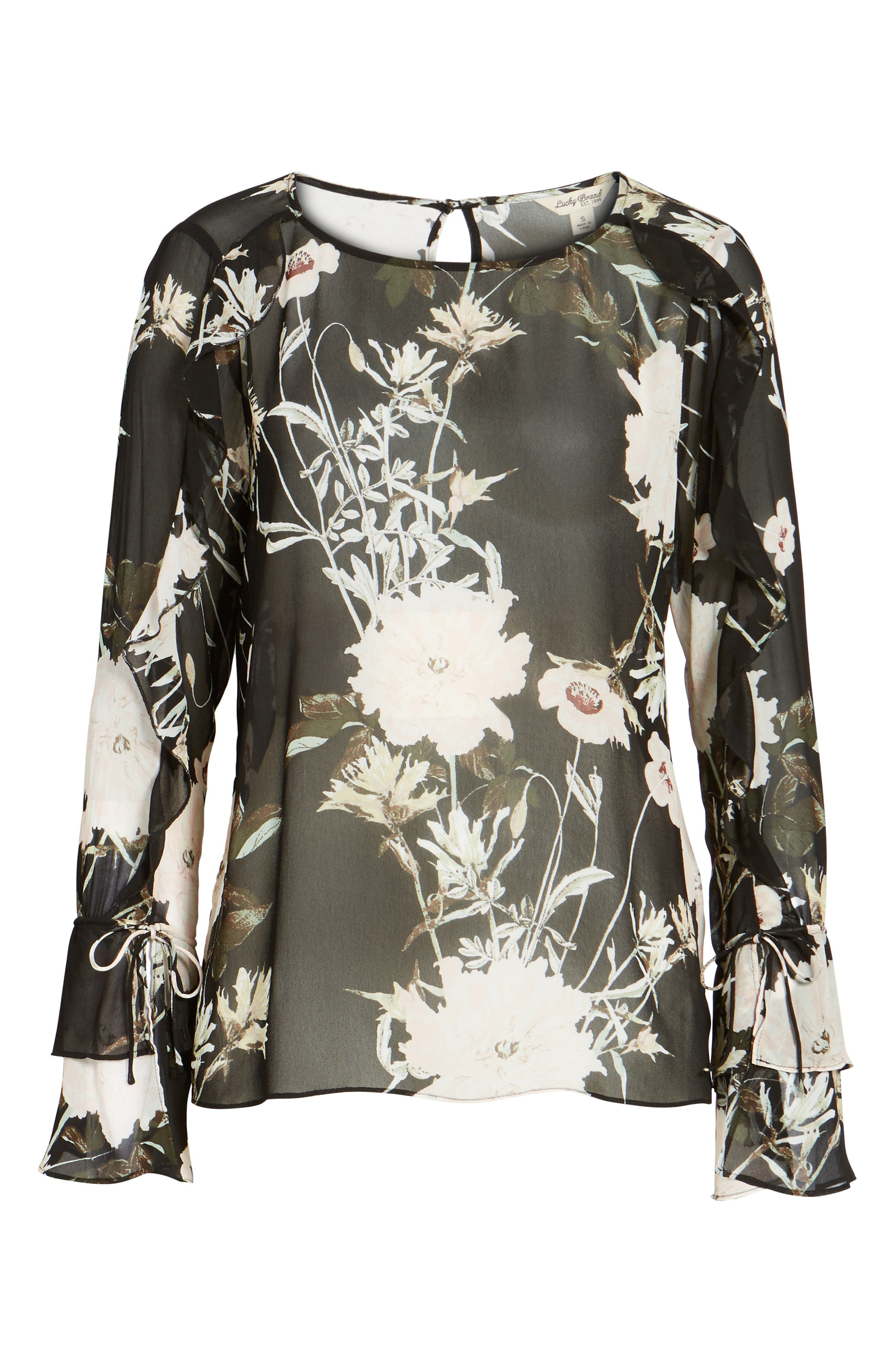 Floral Print Bell Sleeve Top,                             Alternate thumbnail 6, color,                             001