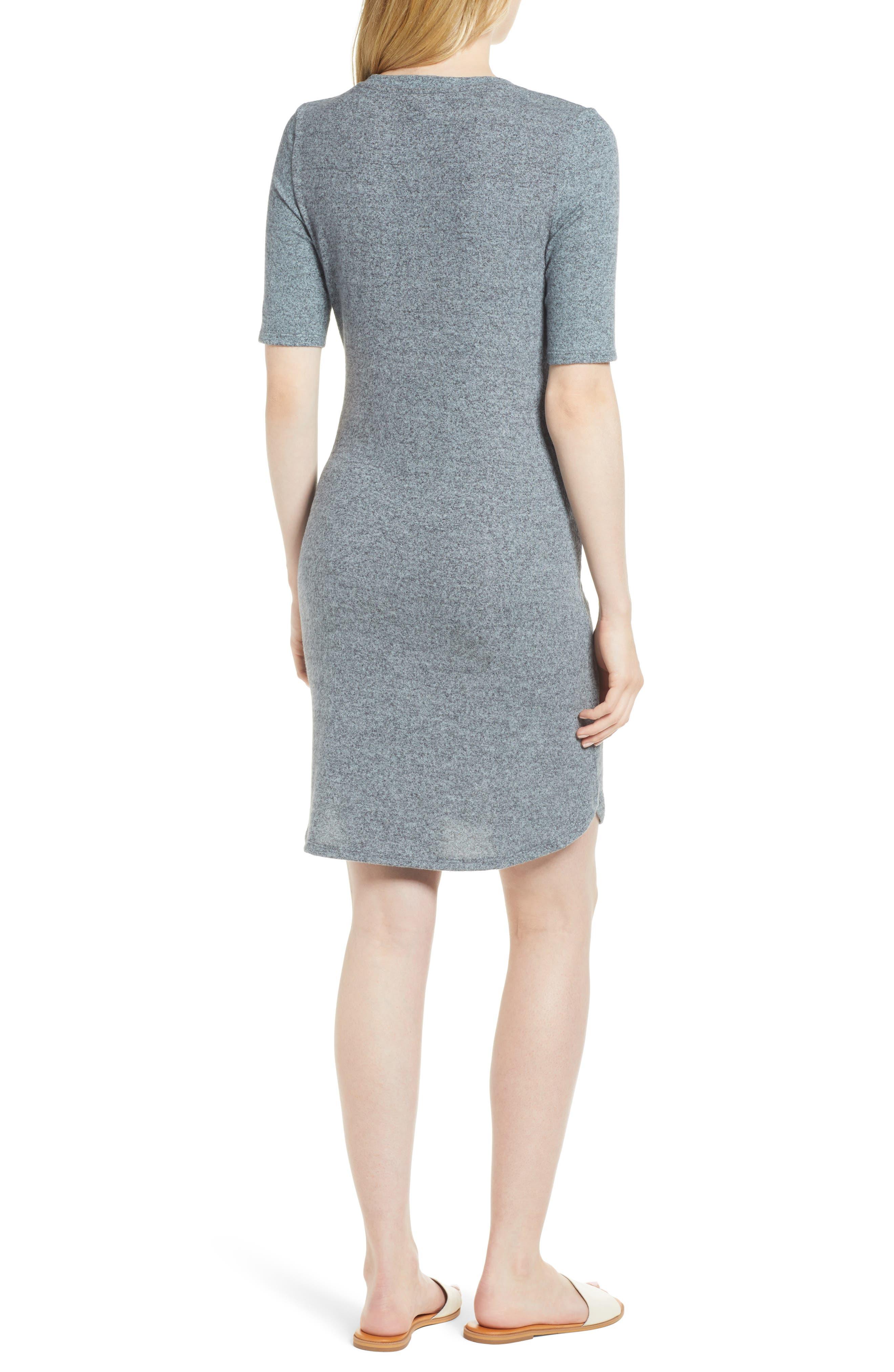 Caslon Off-Duty Tie Front Knit Dress,                             Alternate thumbnail 6, color,