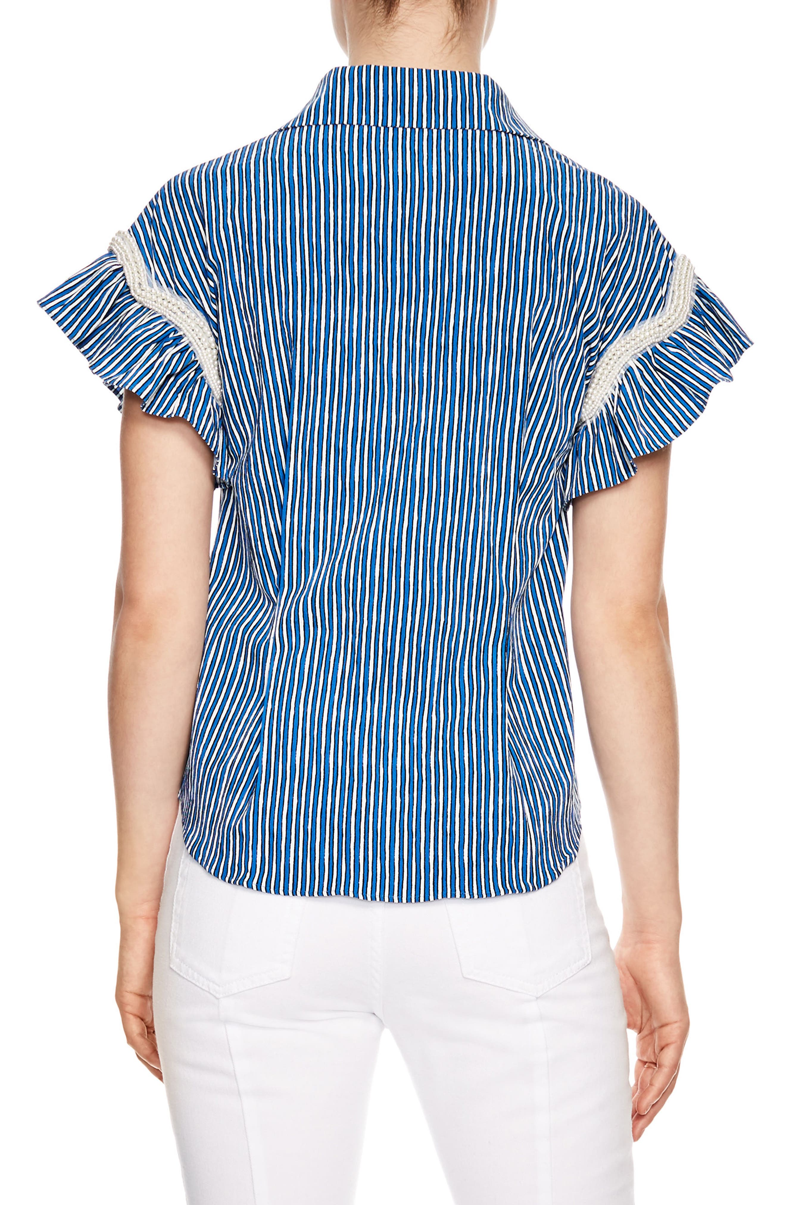 Bleu Crulen Stretch Cotton Top,                             Alternate thumbnail 2, color,