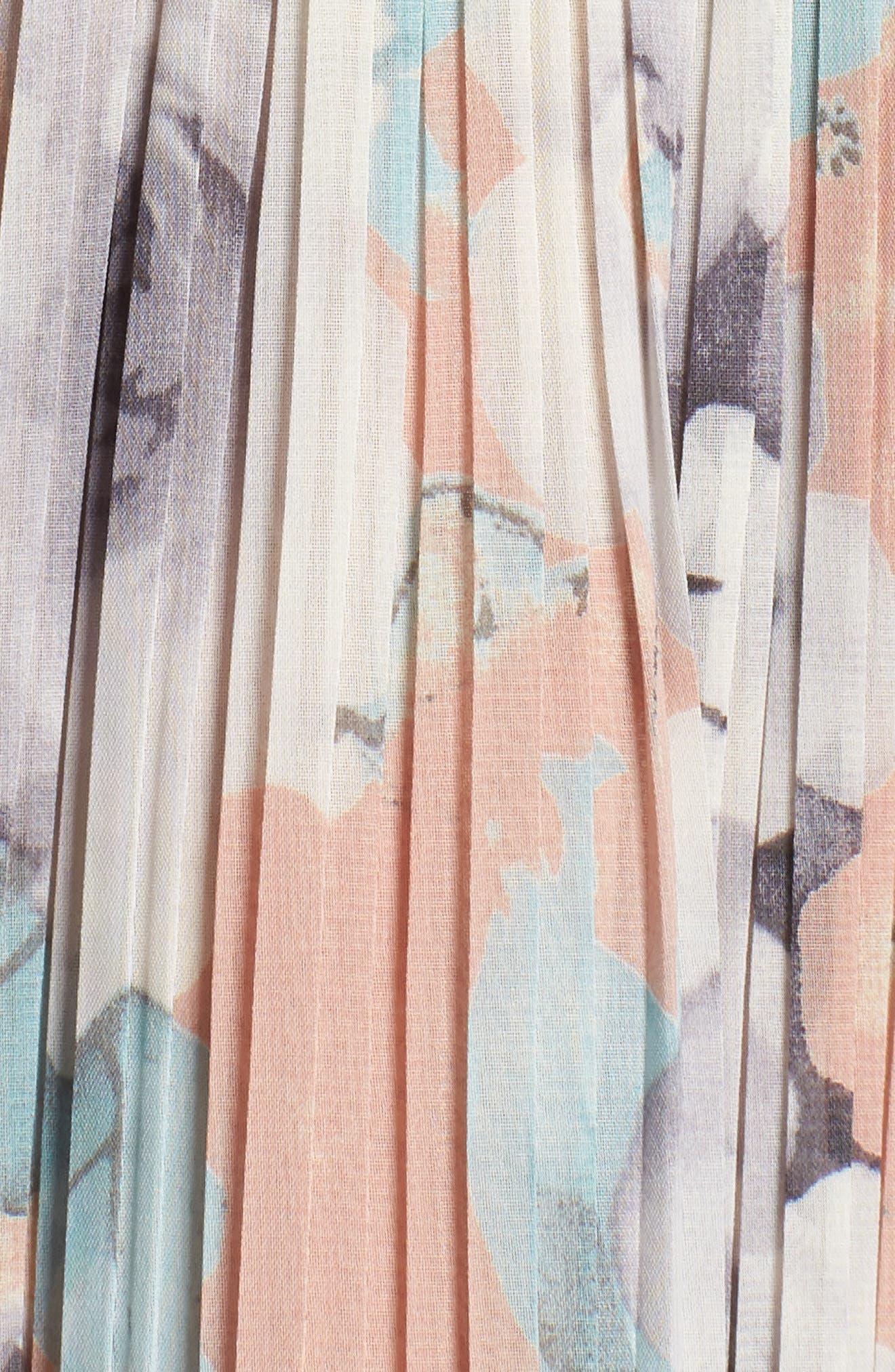 Pleated Floral Halter Dress,                             Alternate thumbnail 6, color,                             650