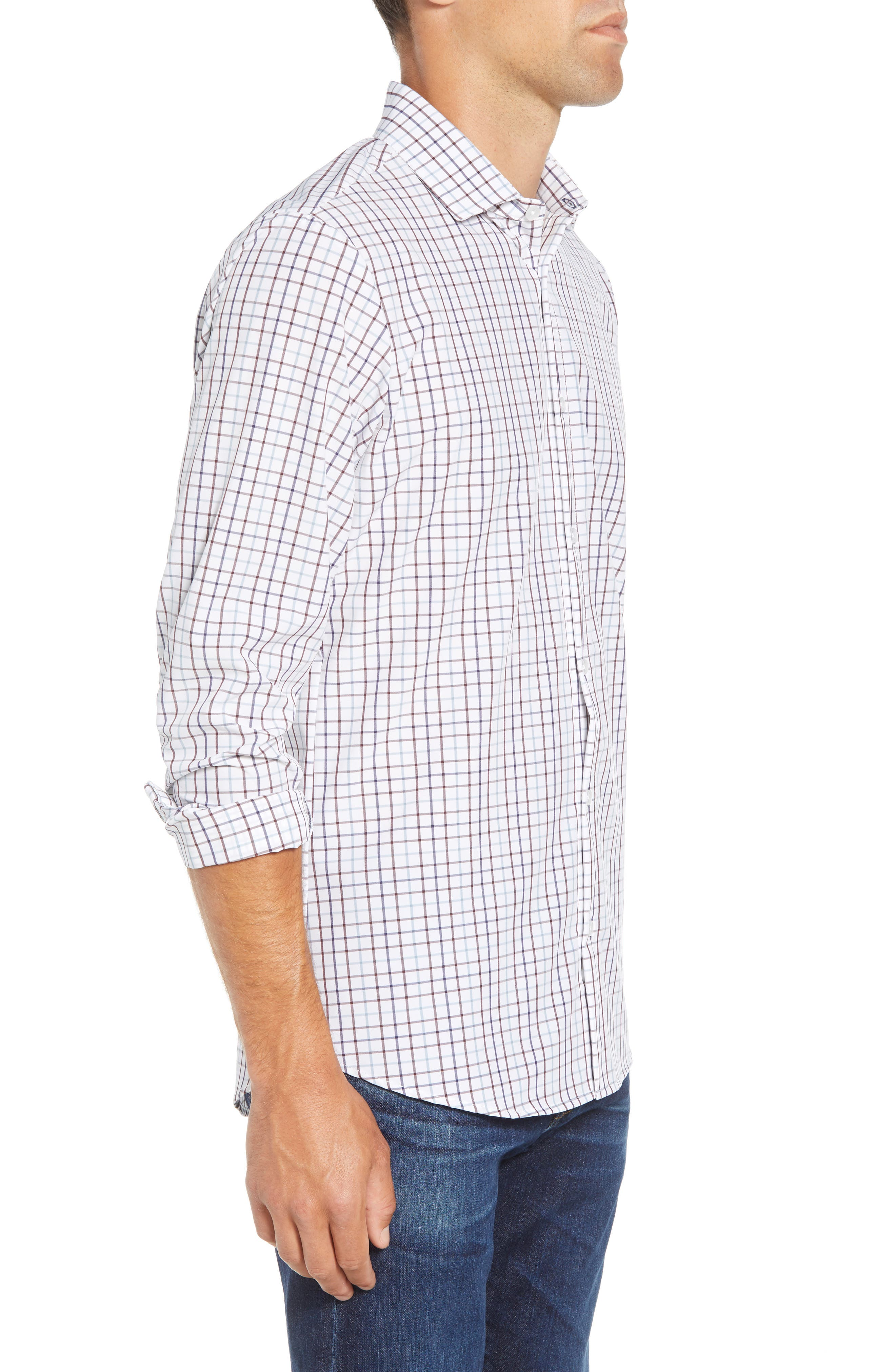 Ward Regular Fit Multi Check Performance Sport Shirt,                             Alternate thumbnail 4, color,                             WHITE