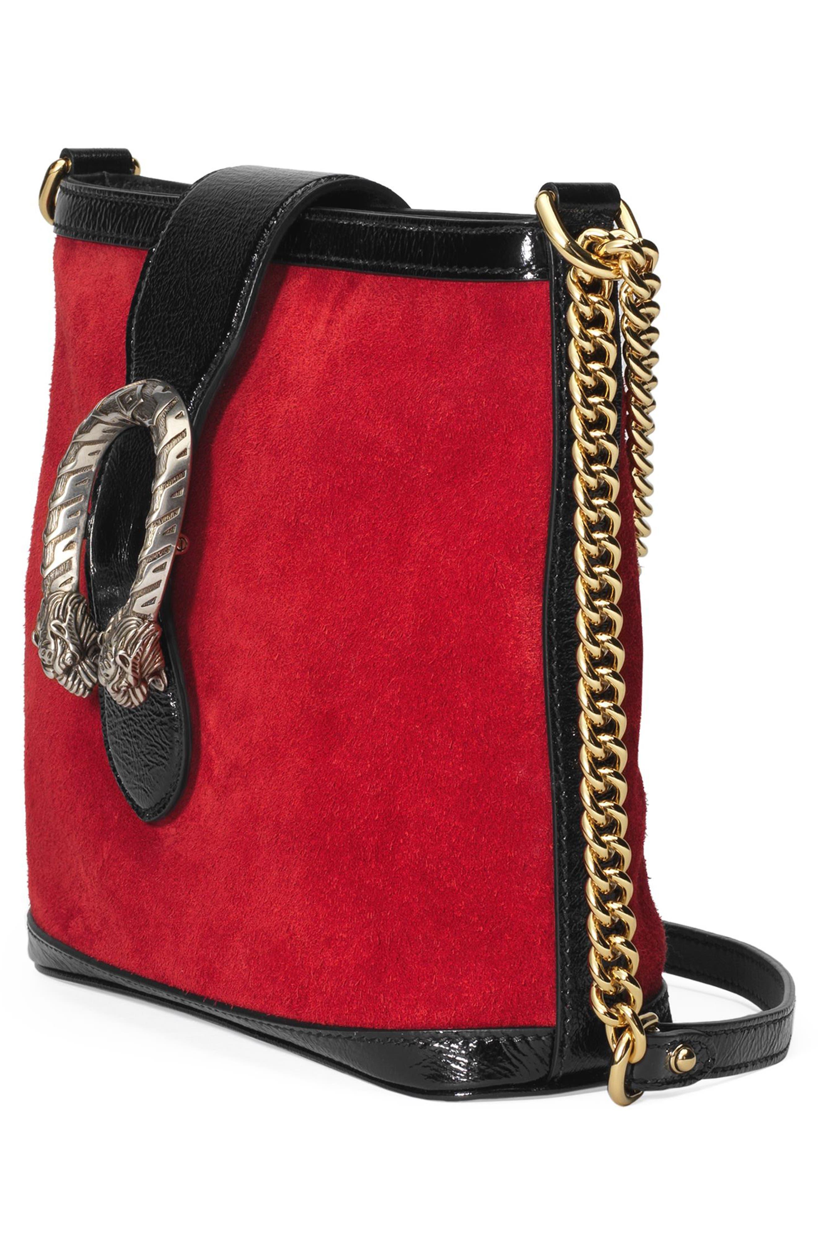 GUCCI,                             Medium Dionysus Suede Shoulder Bag,                             Alternate thumbnail 4, color,                             HIBISCUS RED/ NERO
