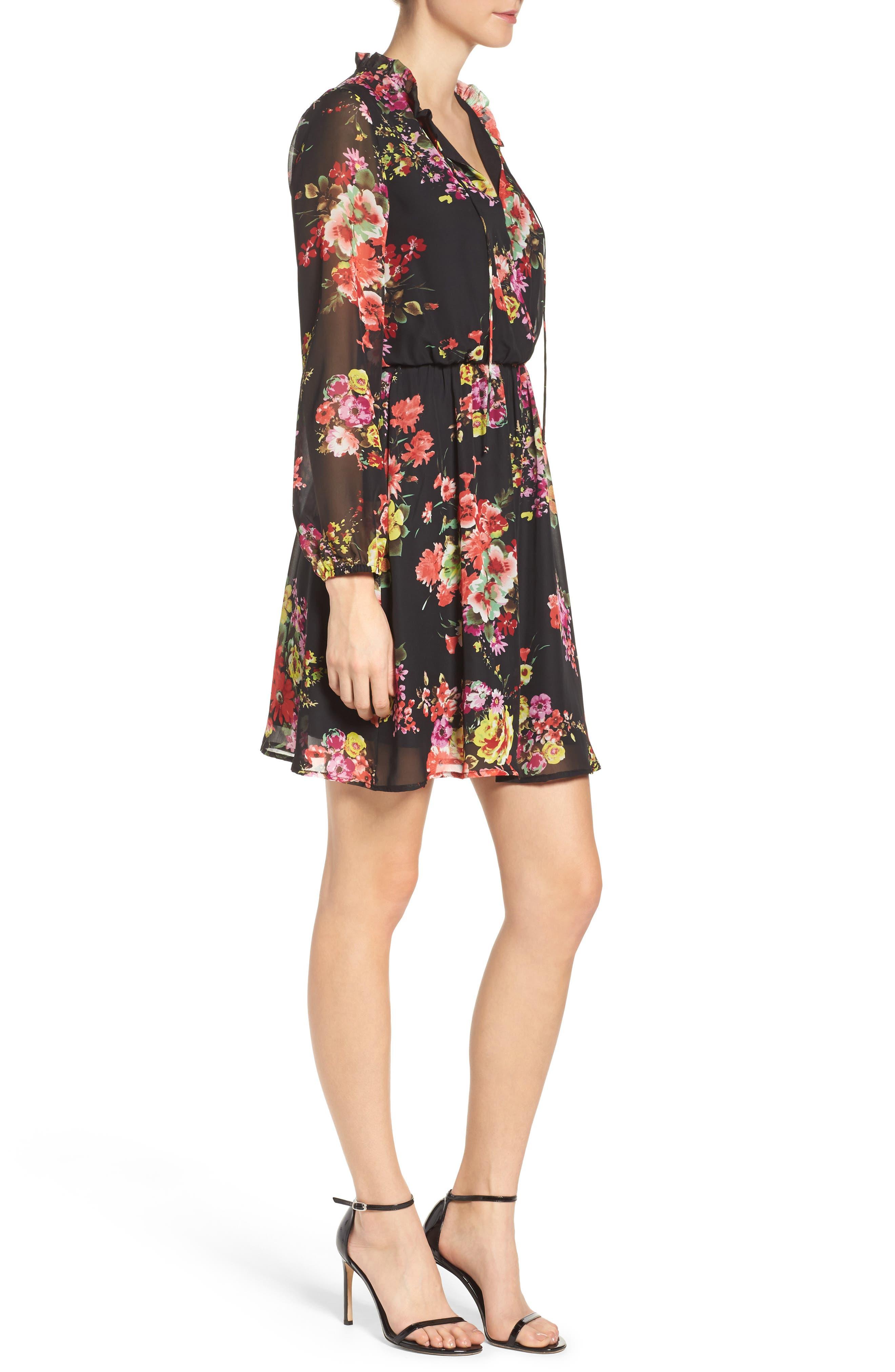 Floral Chiffon A-Line Dress,                             Alternate thumbnail 3, color,                             001