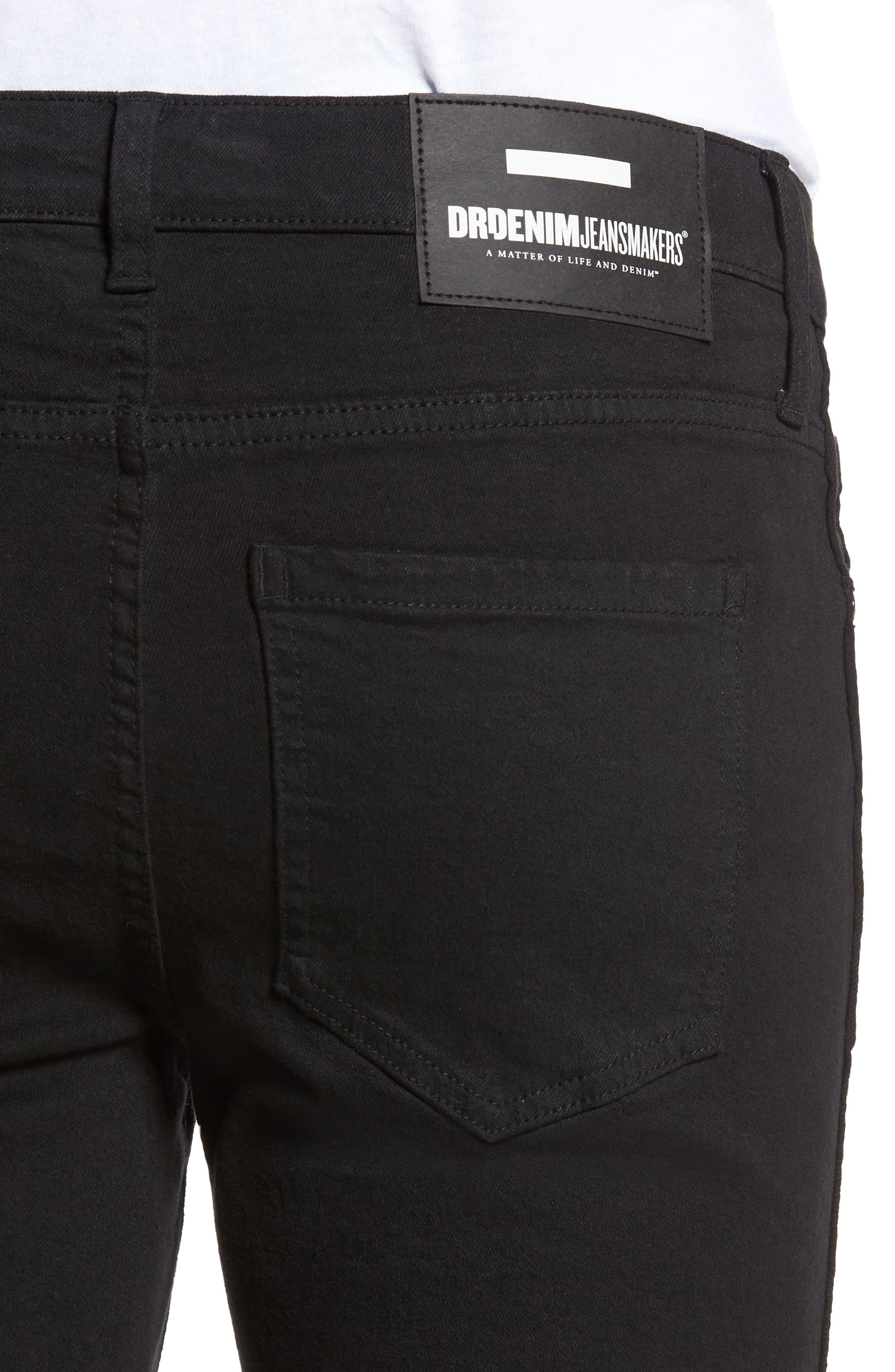 Snap Skinny Fit Jeans,                             Alternate thumbnail 4, color,                             BLACK