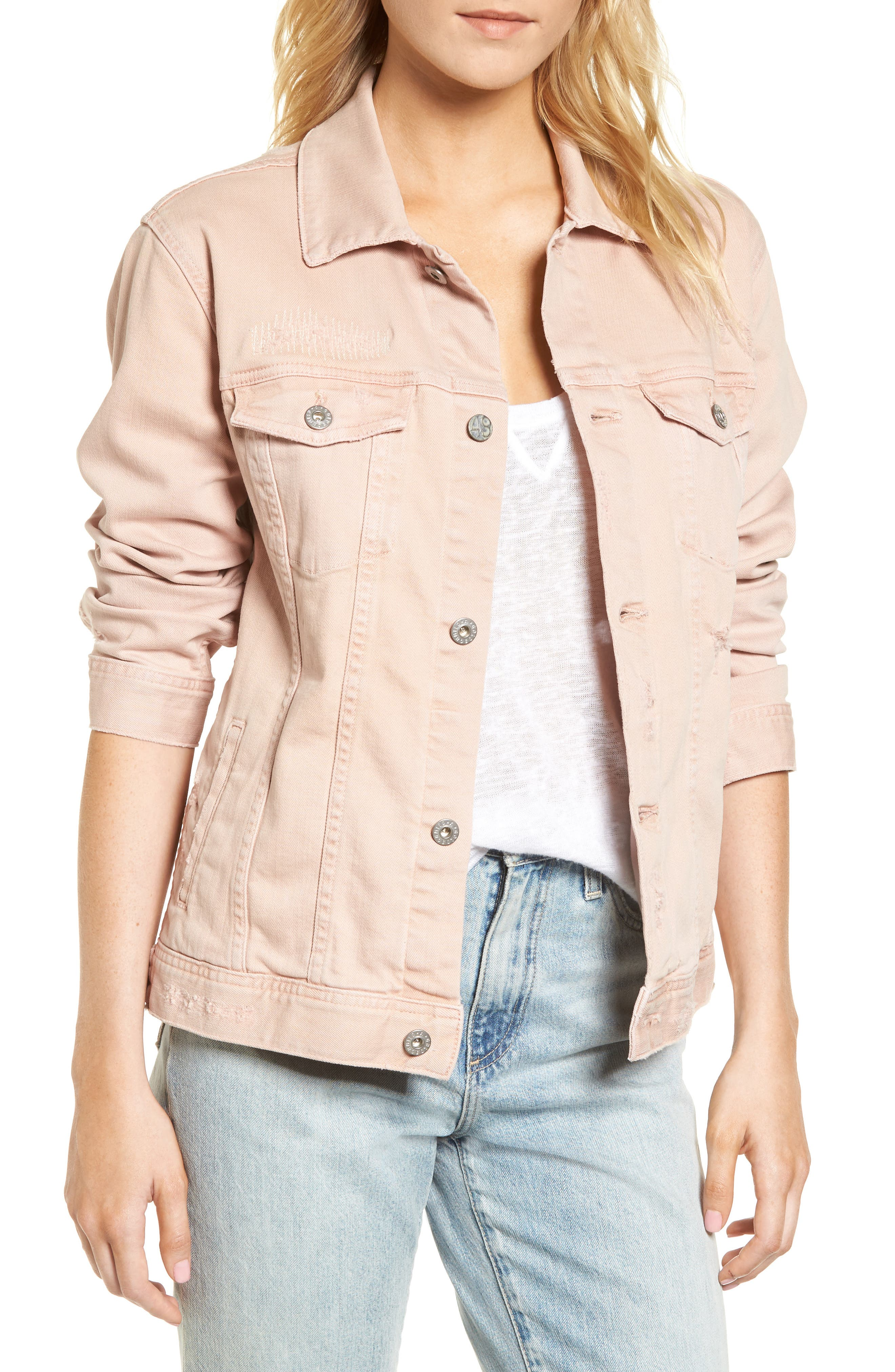 Nancy Distressed Denim Jacket,                         Main,                         color, 651