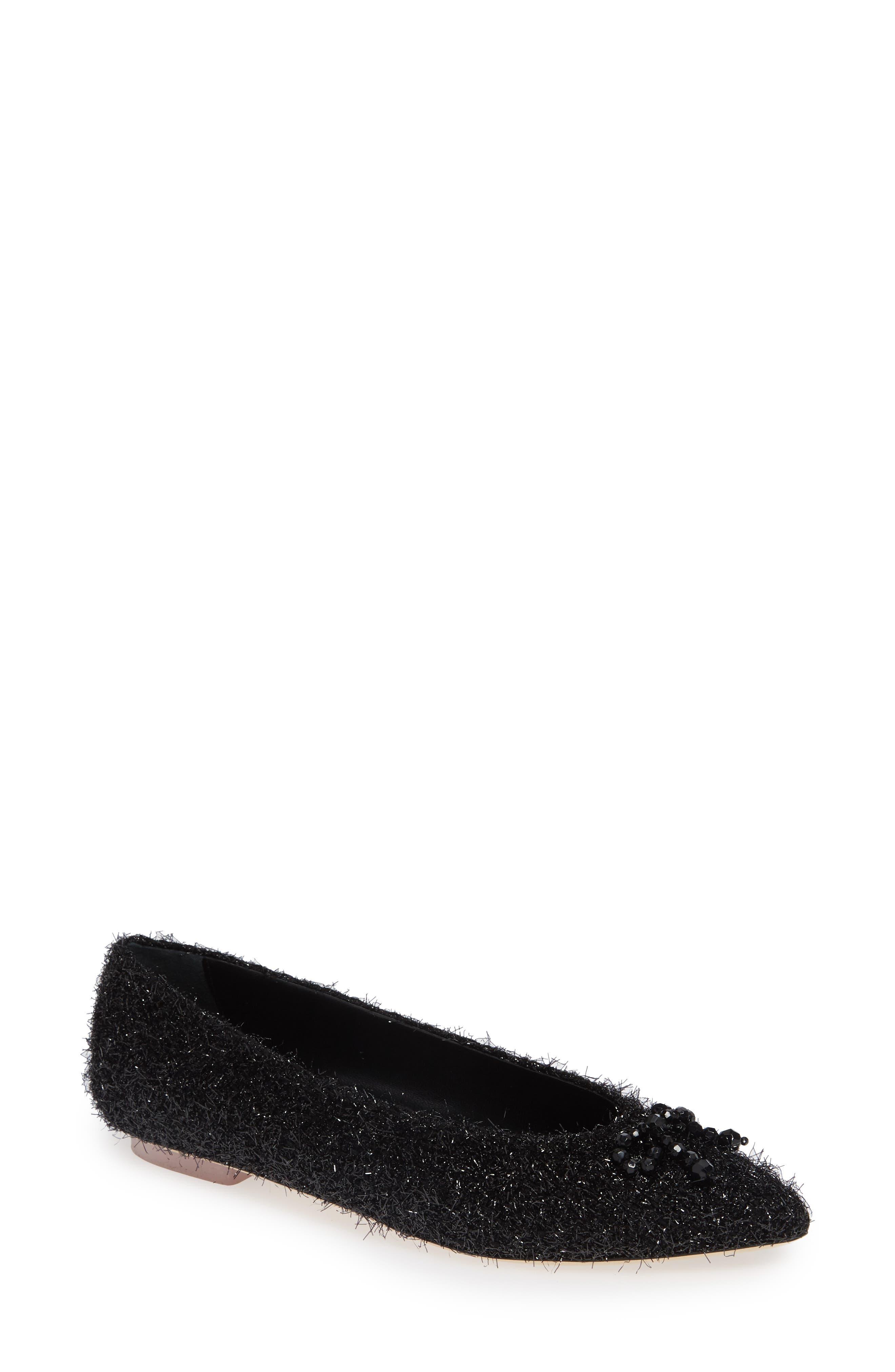 Simone Rocha Beaded Tinsel Flat, Black