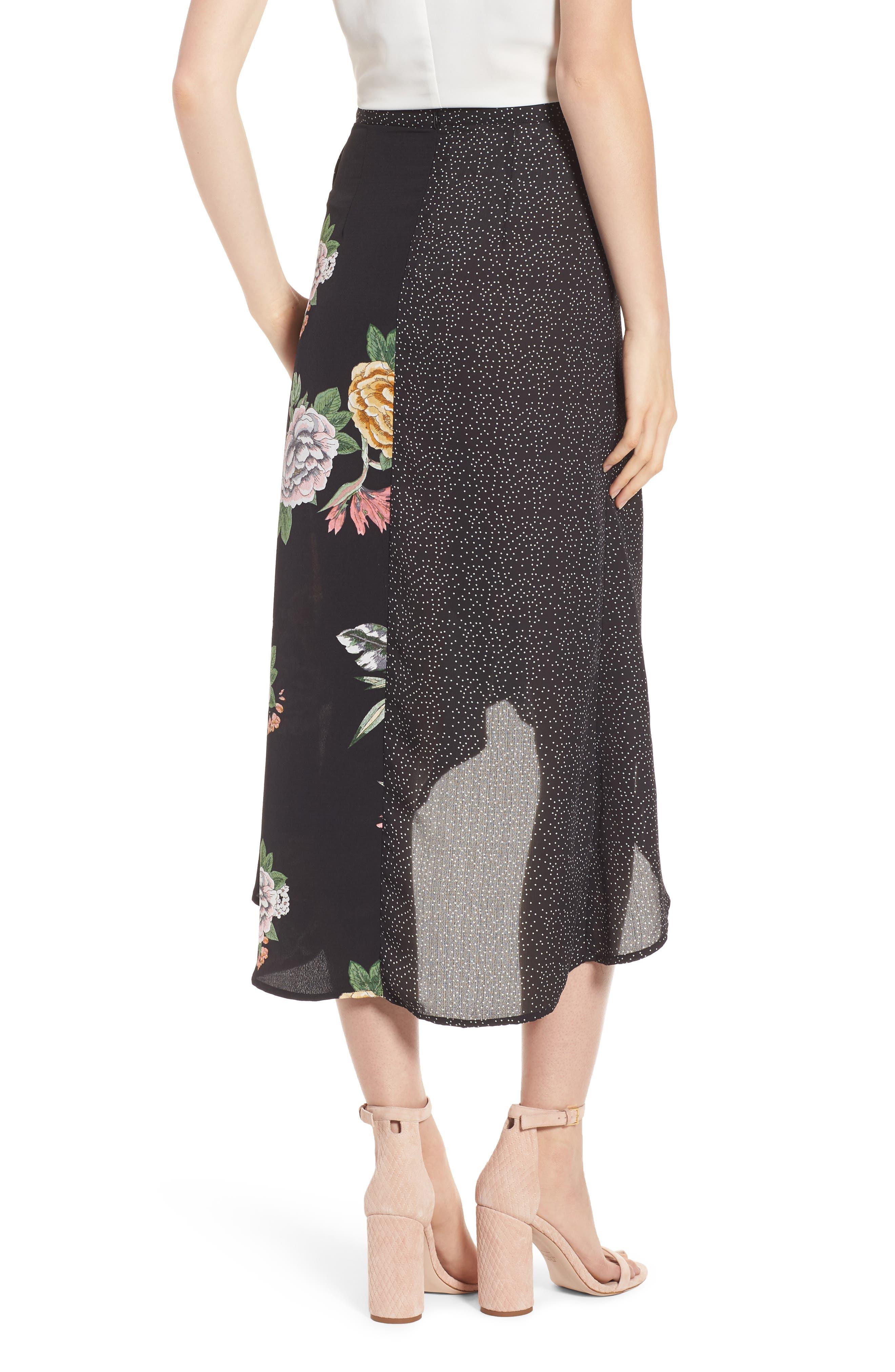 Bishop + Young Enchanted Garden Mix Media Skirt,                             Alternate thumbnail 2, color,                             ENCHANTED GARDEN PRINT