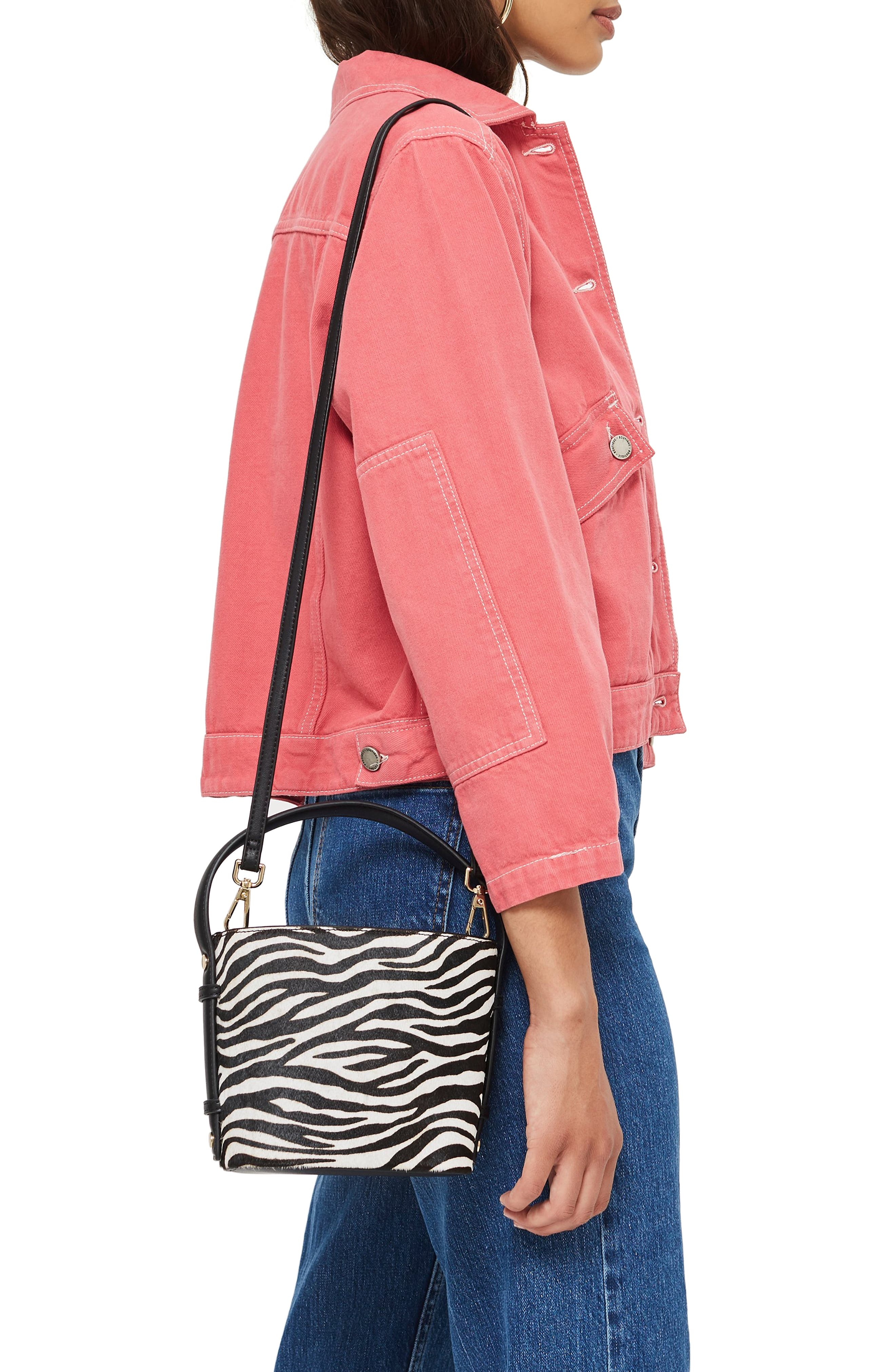 Samira Calf Hair Bucket Bag,                             Alternate thumbnail 2, color,                             BLACK MULTI