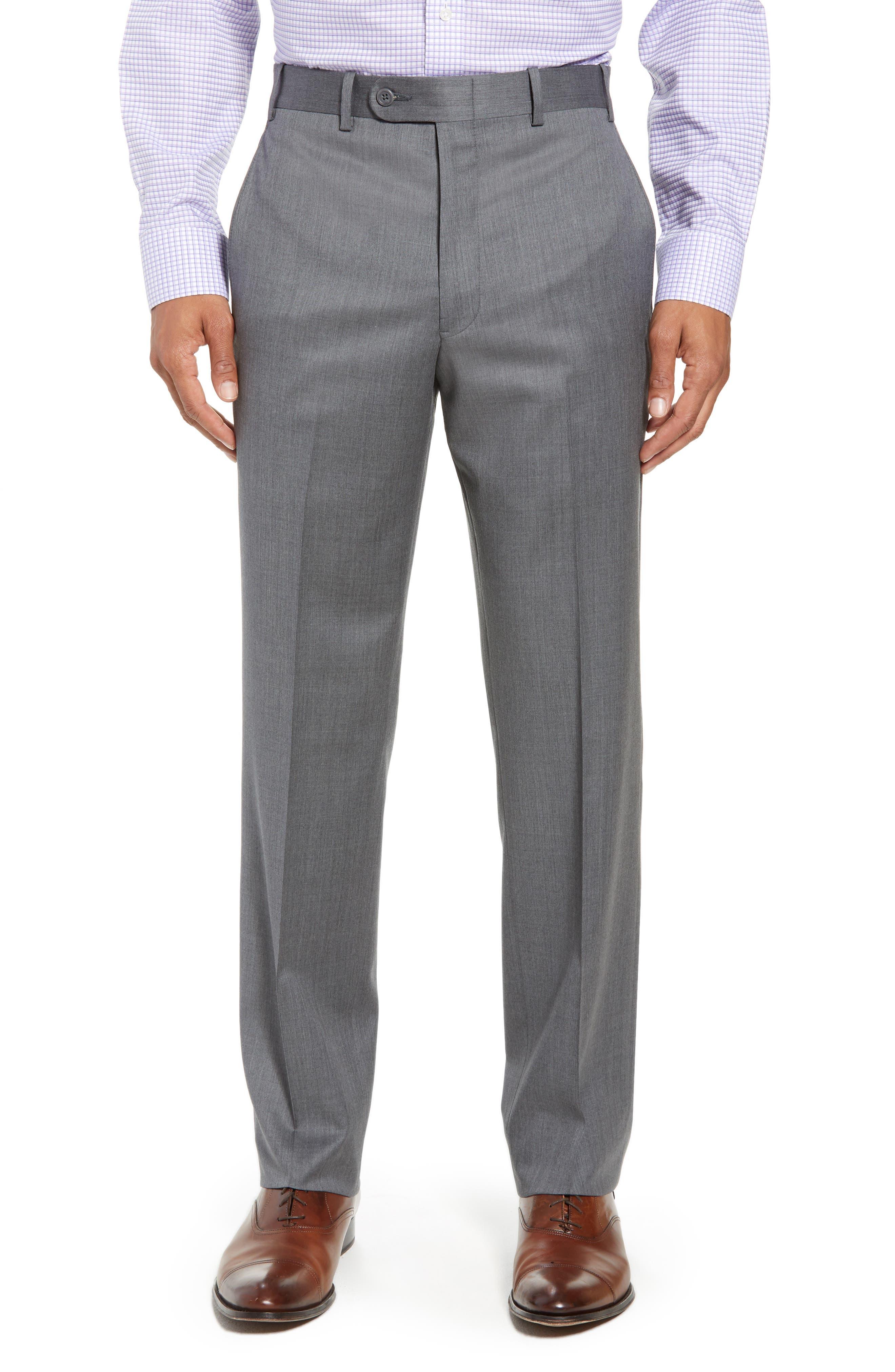 Torino Flat Front Wool Gabardine Trousers,                             Main thumbnail 3, color,
