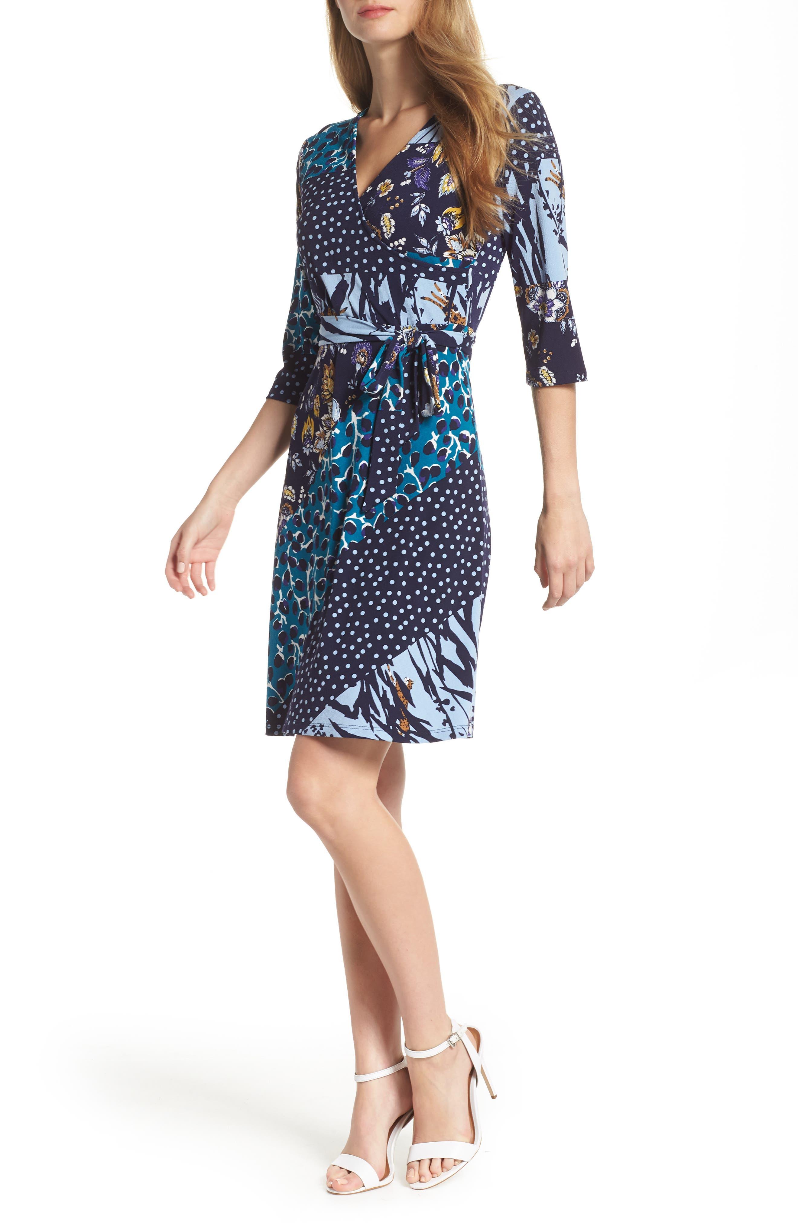 LEOTA Print Jersey Faux Wrap Dress in Montage