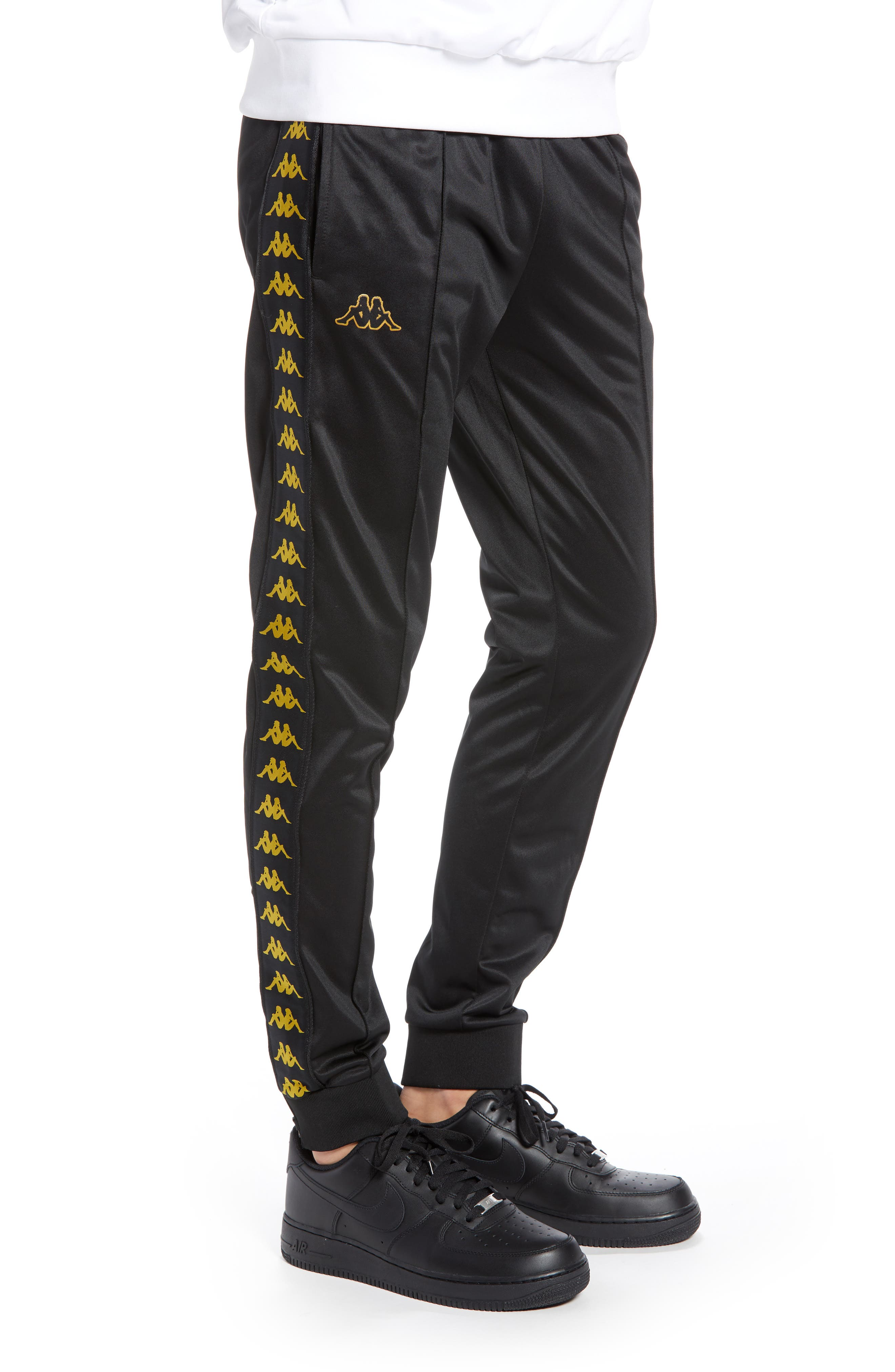 Active Banded Track Pants,                             Alternate thumbnail 3, color,                             BLACK/ GOLD