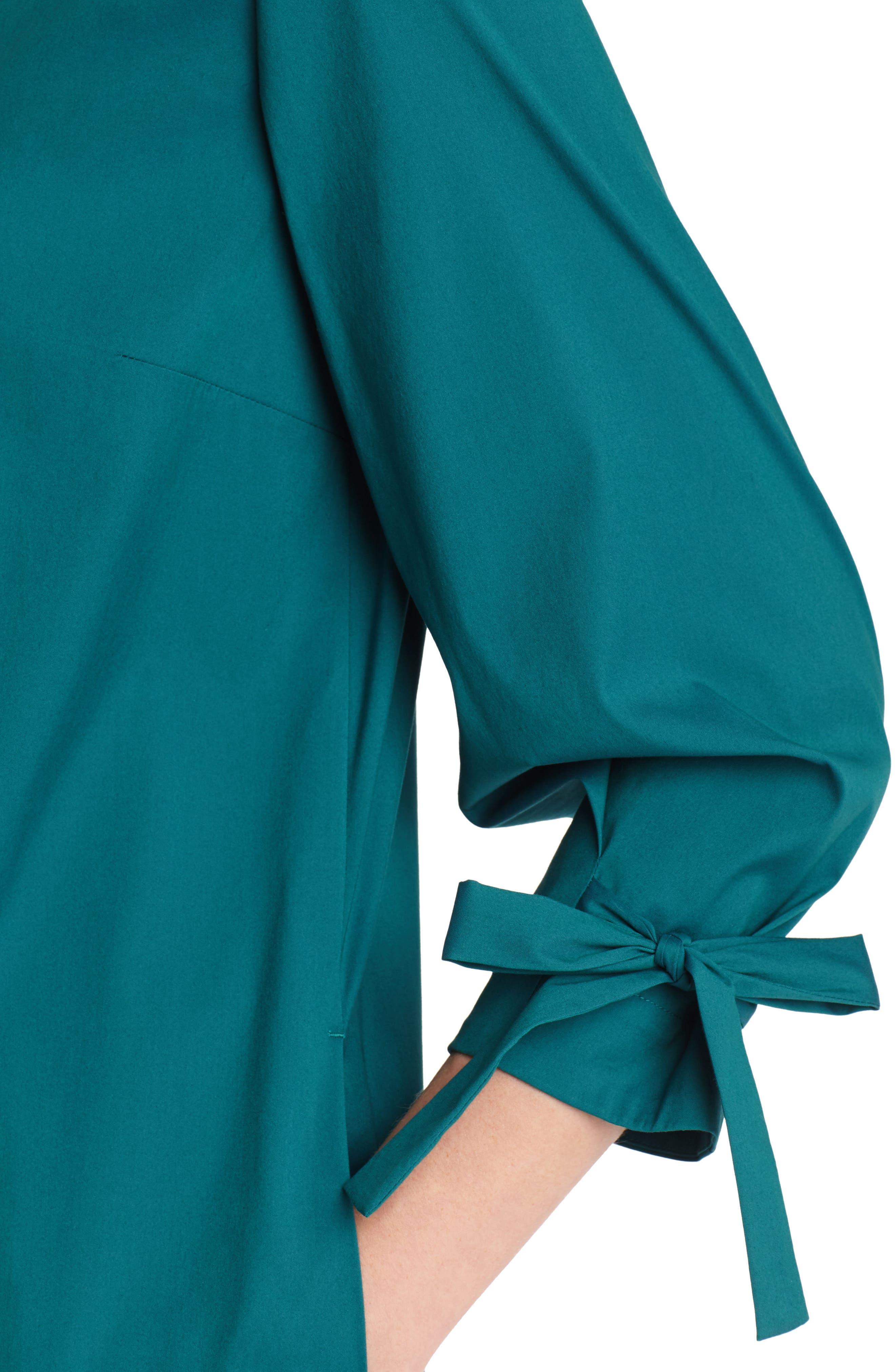 Paige Cotton Blend Dress,                             Alternate thumbnail 3, color,                             ATLANTIC TEAL