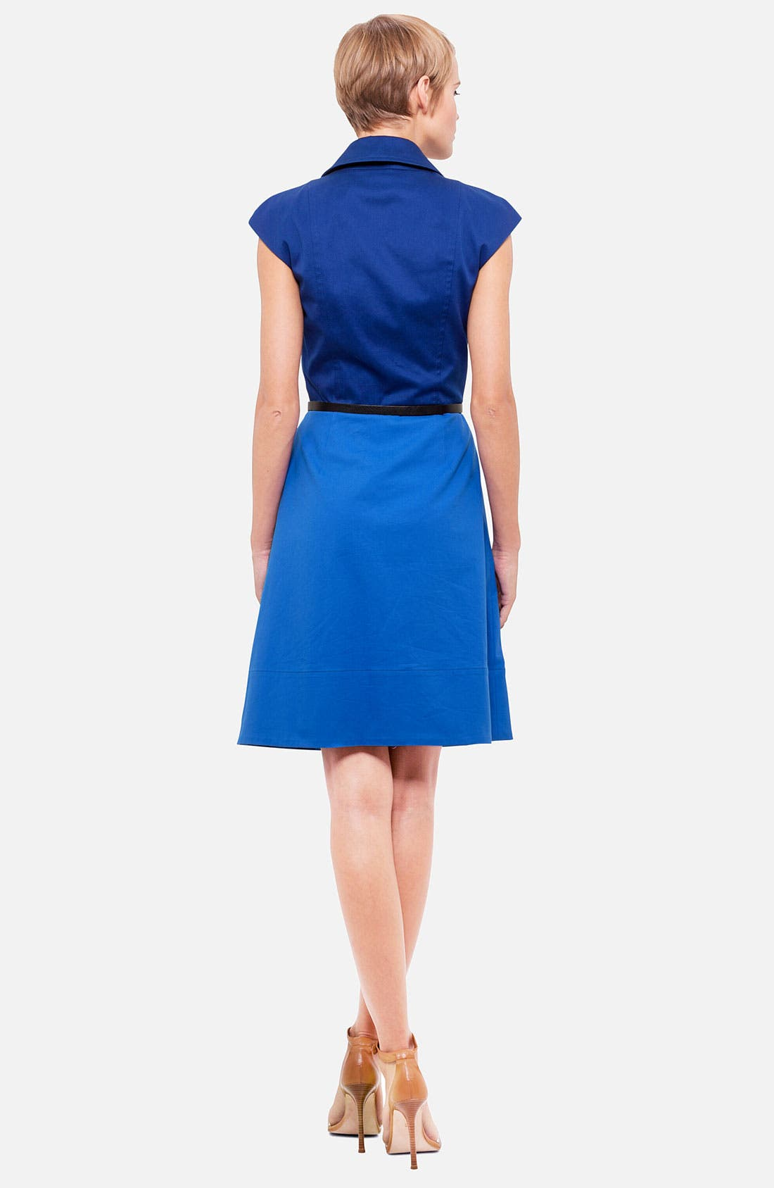Belted Colorblock Stretch Cotton Dress,                             Alternate thumbnail 3, color,