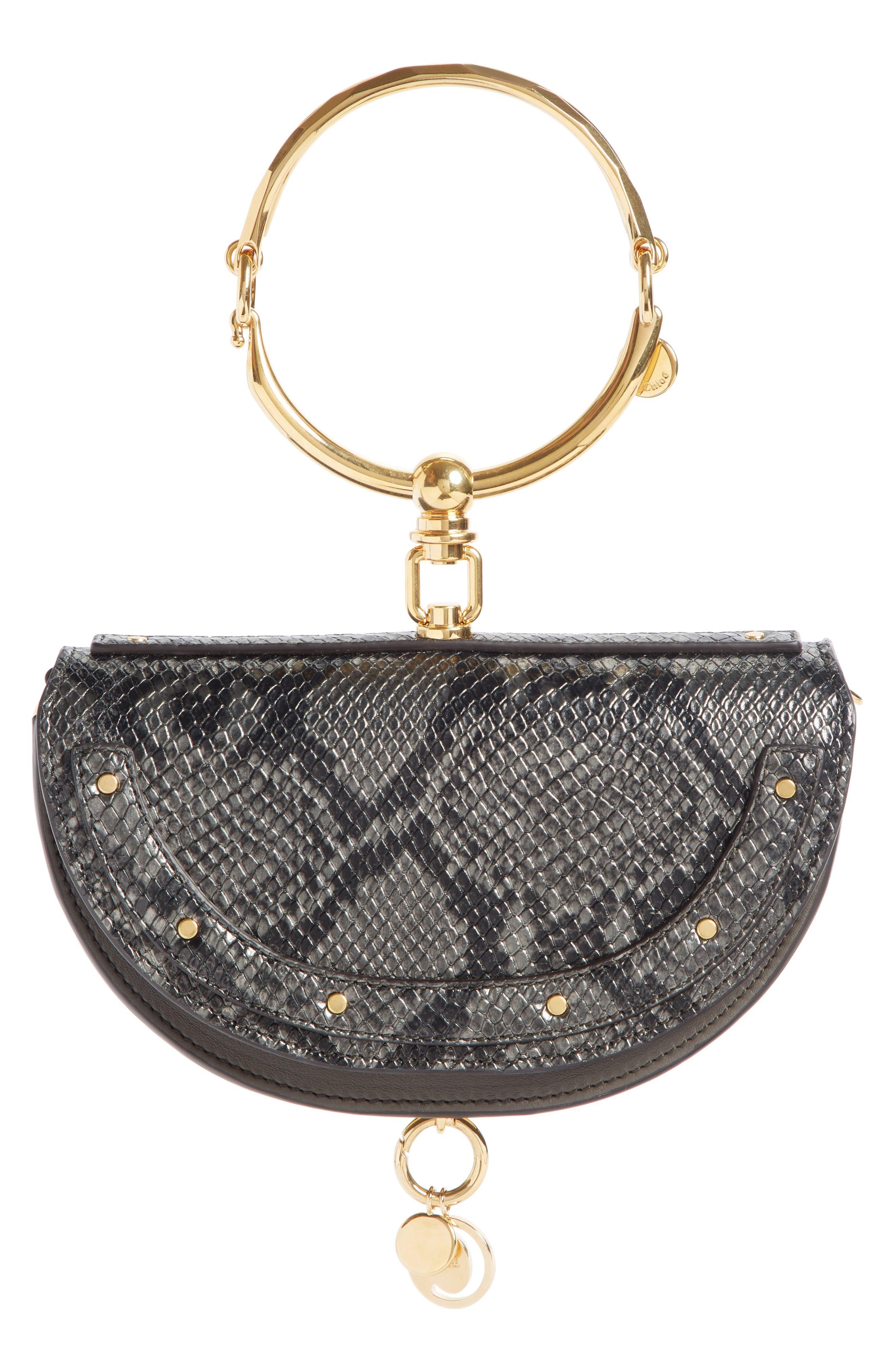 Nile Bracelet Snake Embossed Leather Minaudière,                             Main thumbnail 1, color,                             201