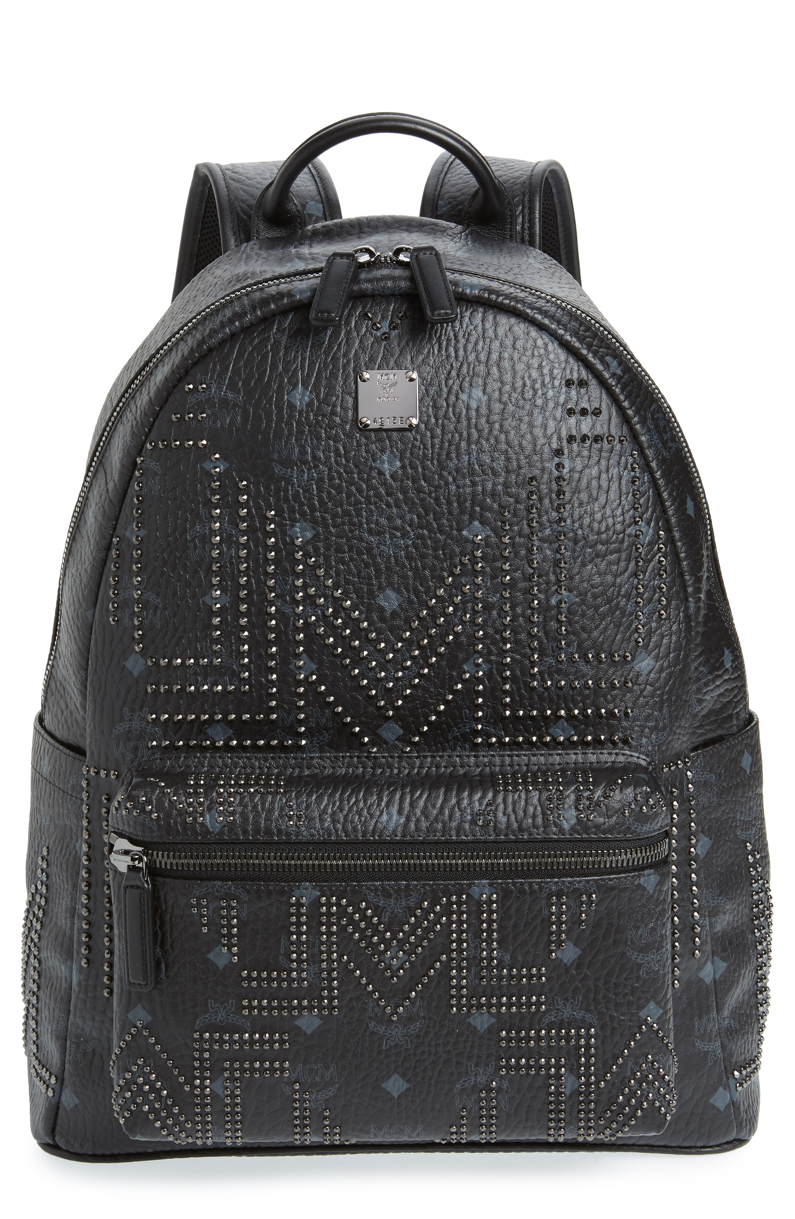 Stark Stud Faux Leather Backpack,                             Main thumbnail 1, color,                             BLACK