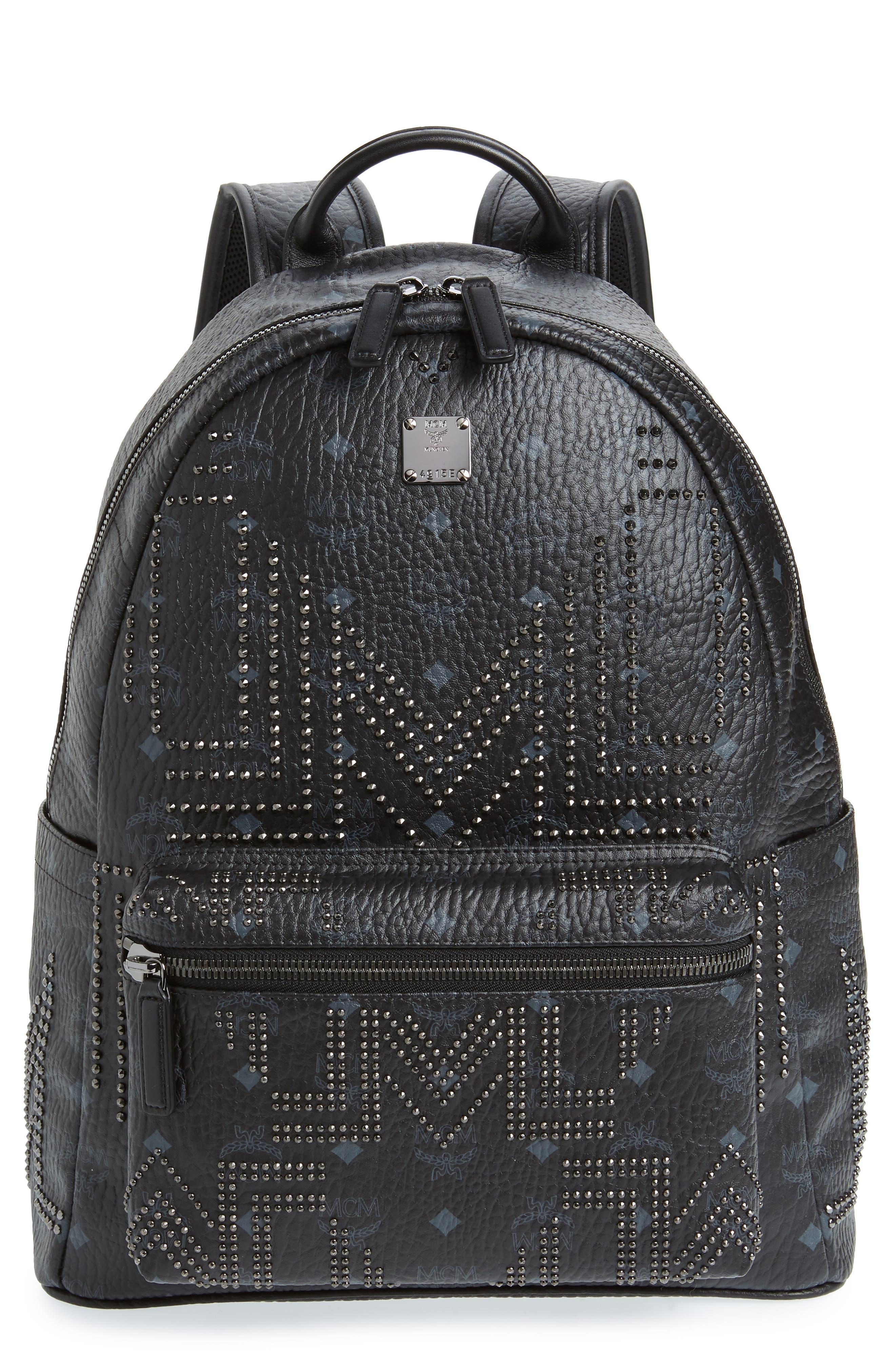 Stark Stud Faux Leather Backpack,                         Main,                         color, BLACK