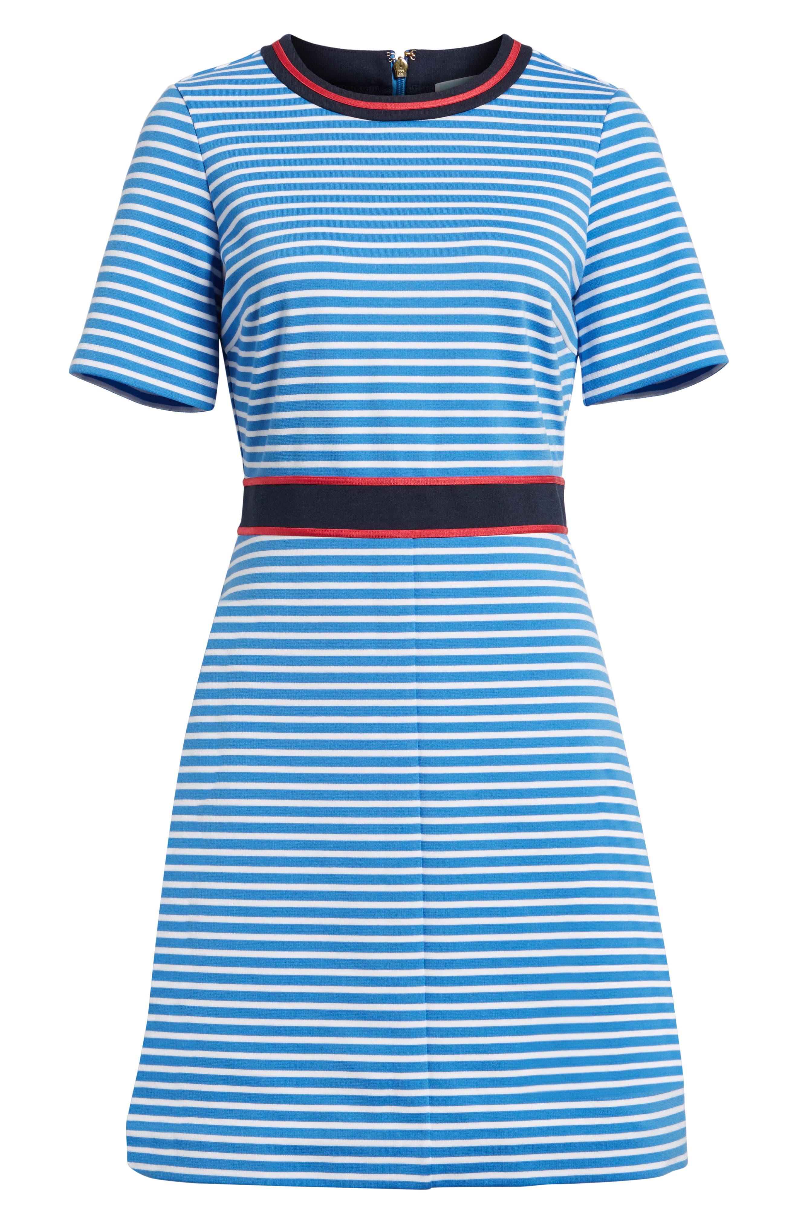 Stripe Persley Ponte Fit & Flare Dress,                             Alternate thumbnail 6, color,                             452
