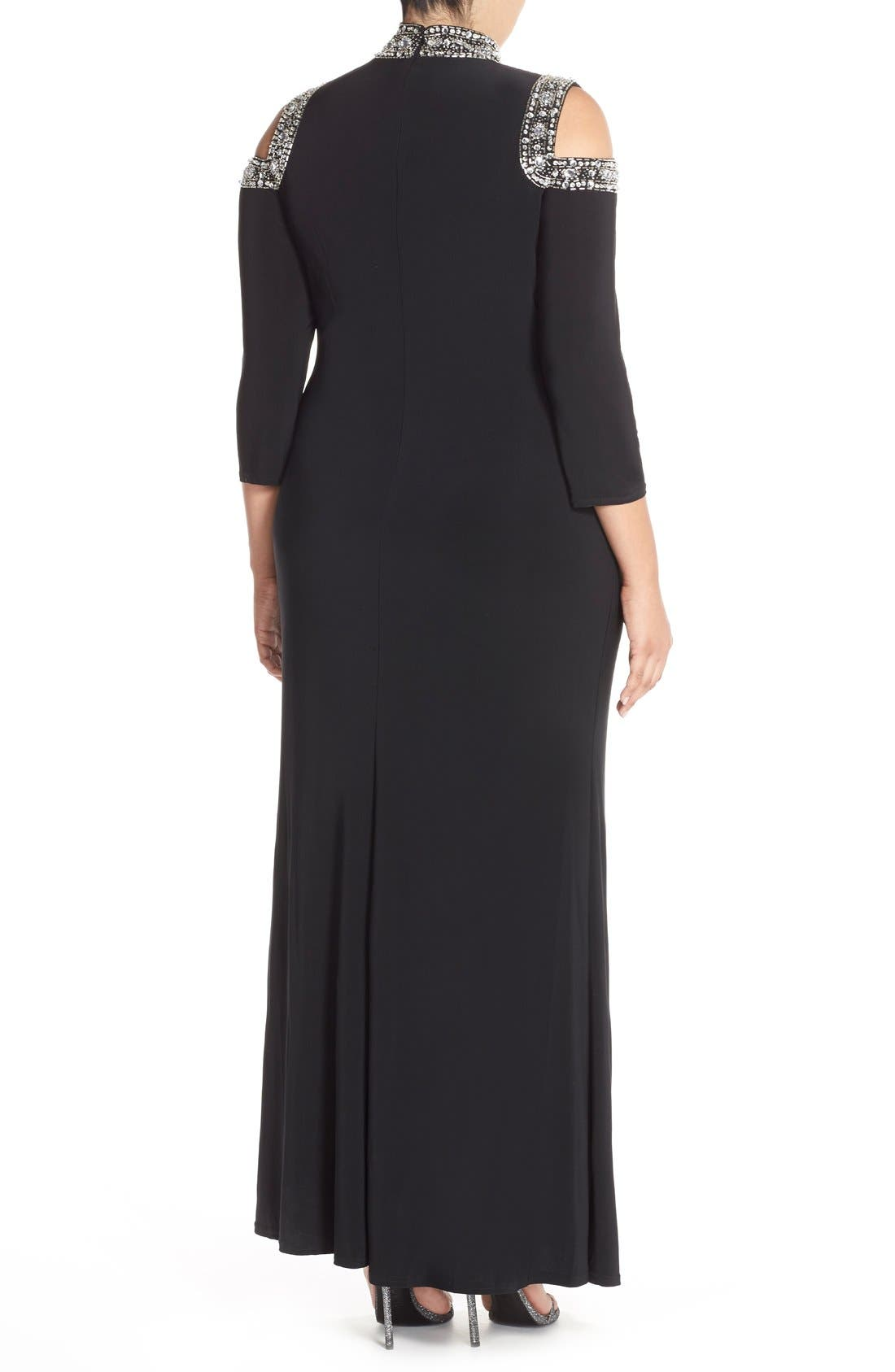 Embellished Neck Cold Shoulder Gown,                             Alternate thumbnail 2, color,                             001