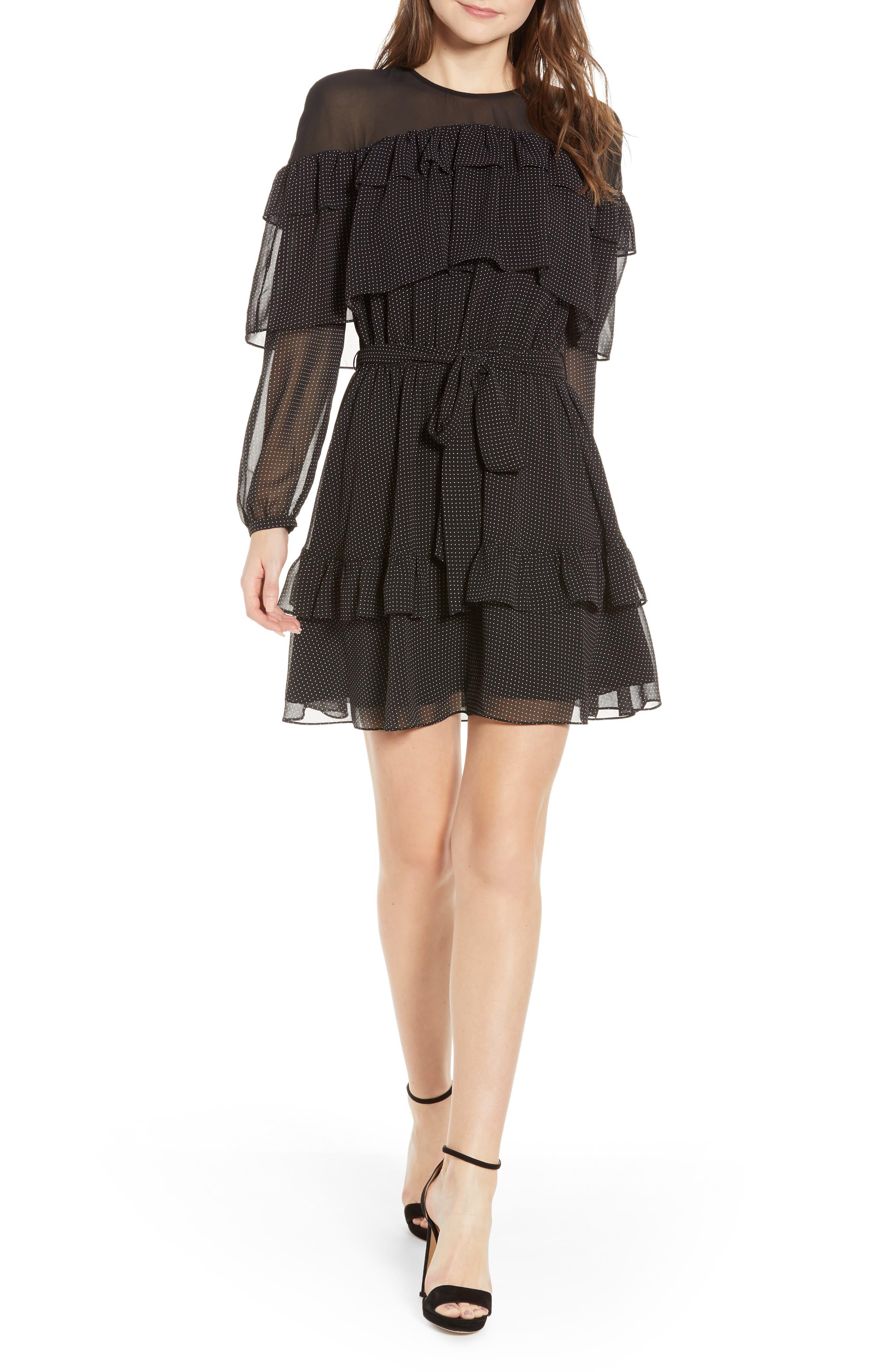 Rebecca Minkoff Portia Dot & Ruffle Minidress, Black