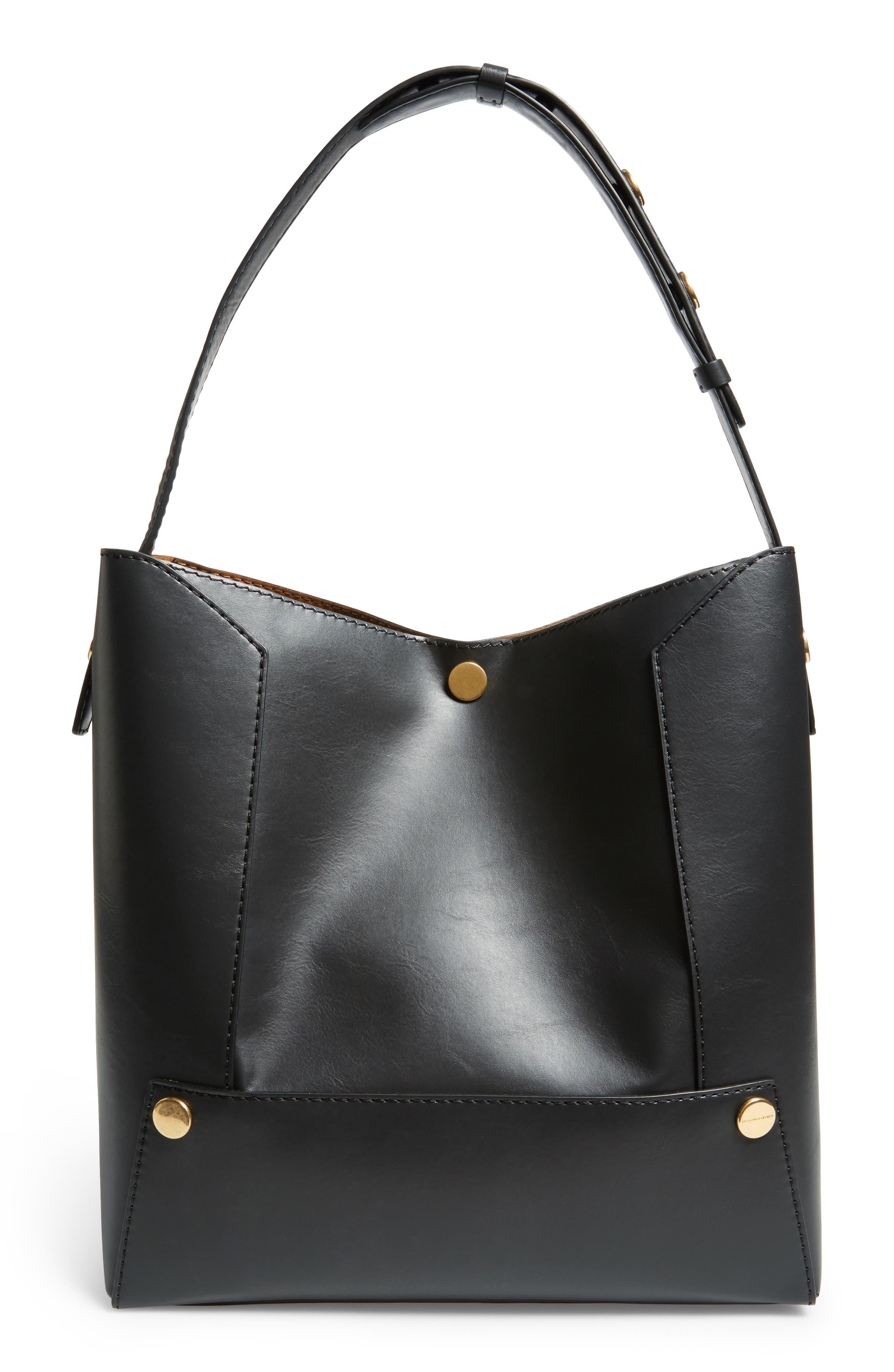 Faux Leather Bucket Bag,                             Main thumbnail 1, color,                             001