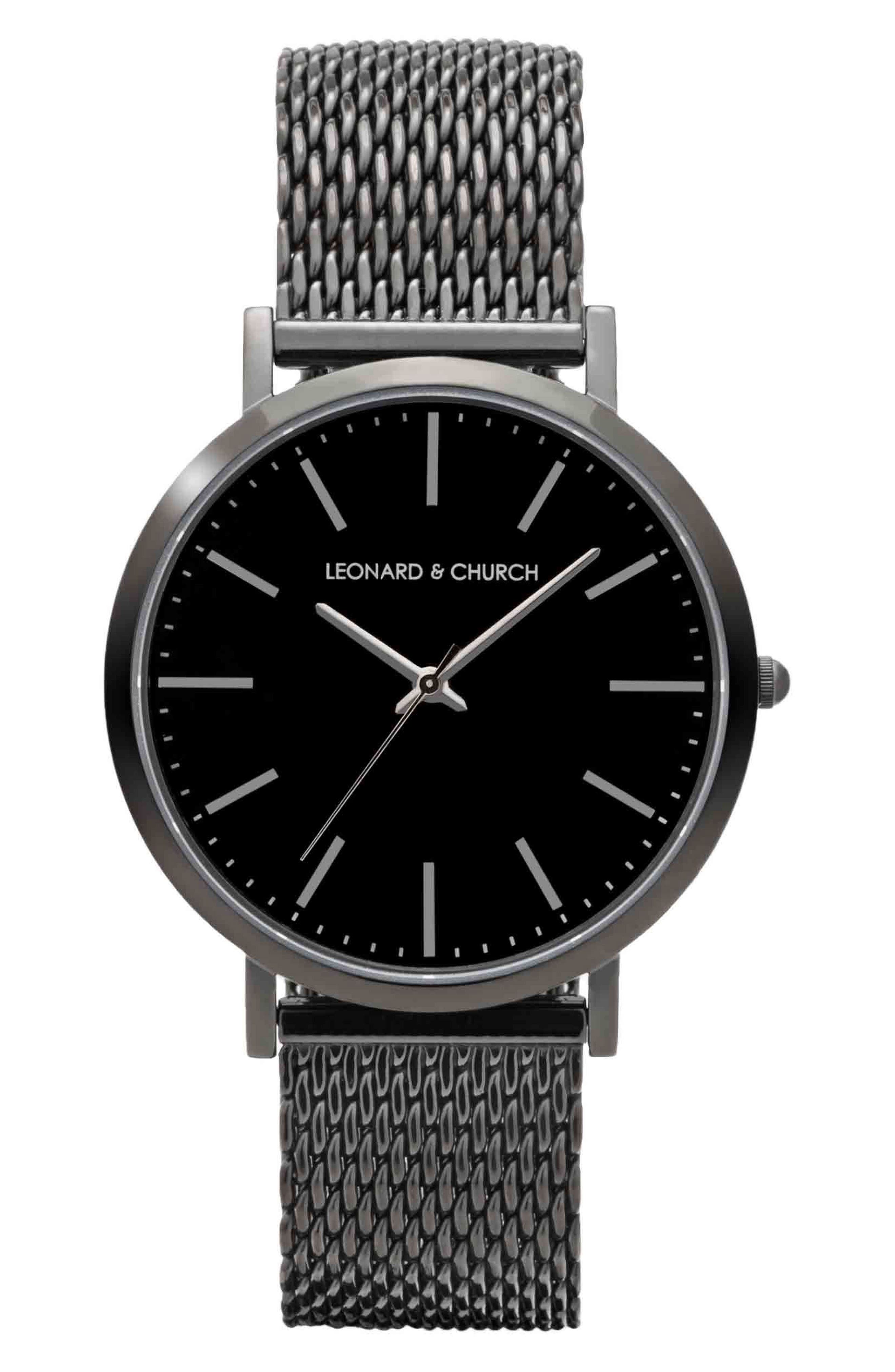 Leonard & Church Essex Mesh Strap Watch, 40mm,                         Main,                         color, 001