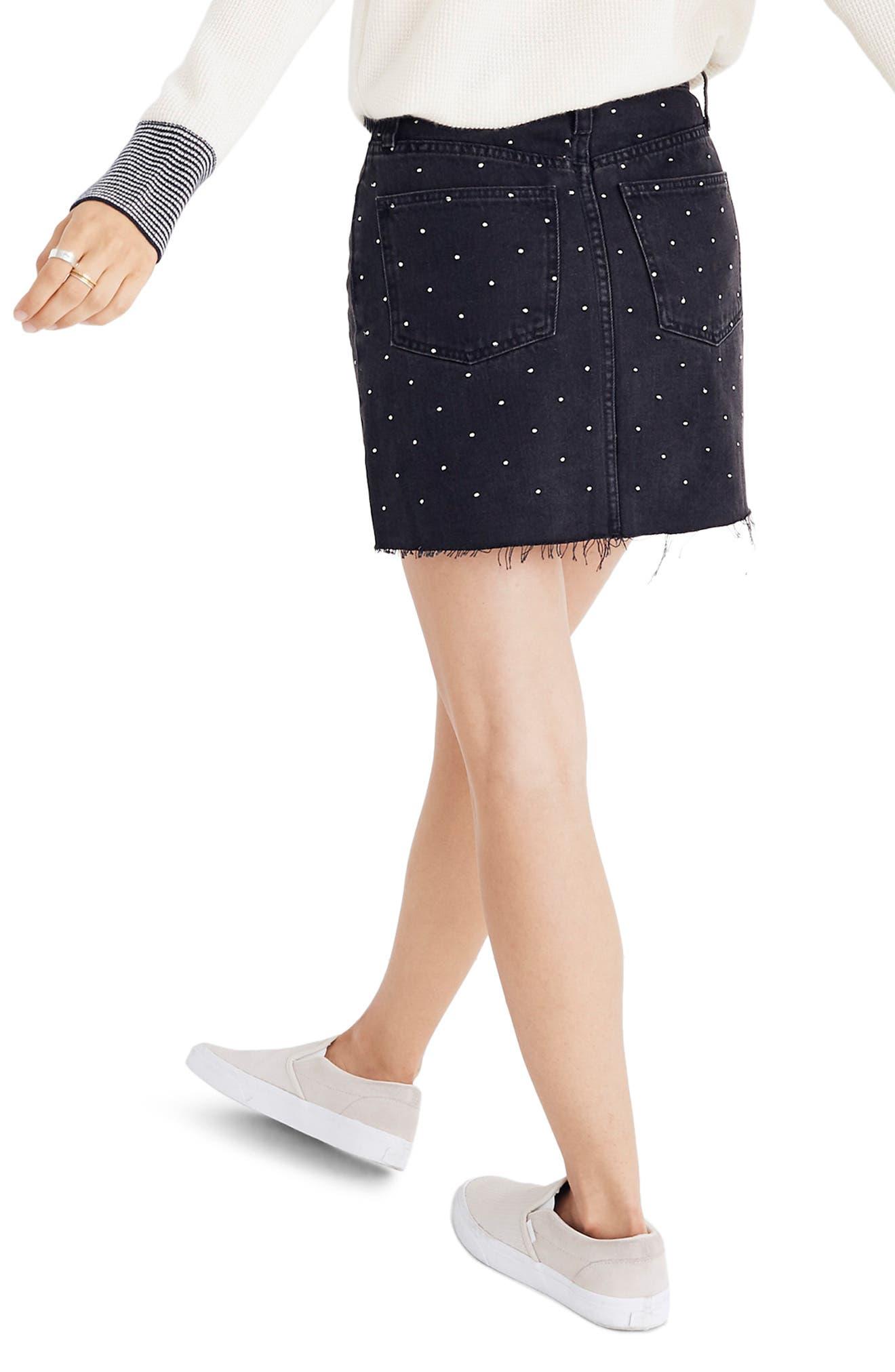 Metallic Dots Denim Miniskirt,                             Alternate thumbnail 2, color,                             LUNAR WASH