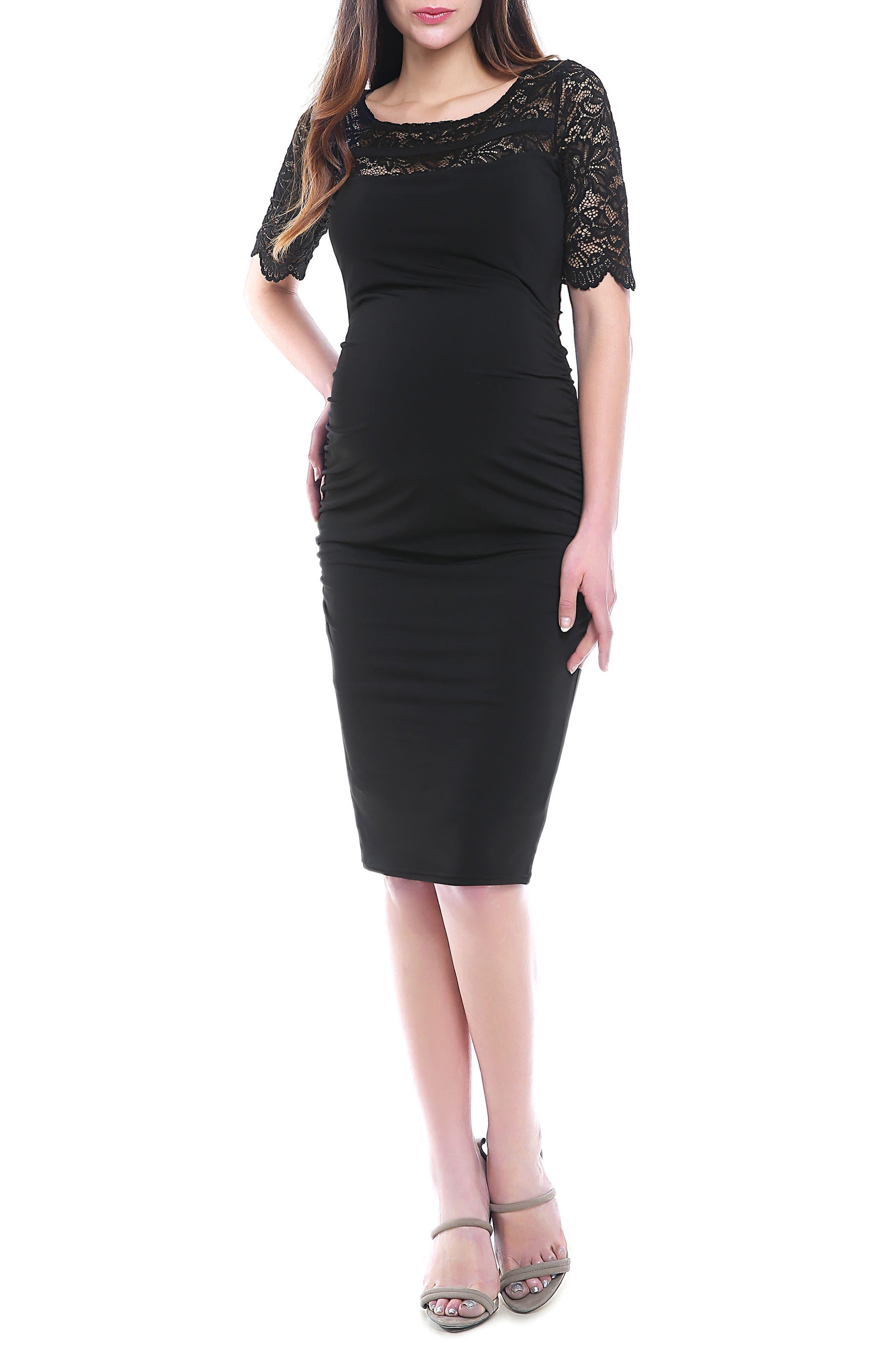 Lace Trim Ruched Maternity Dress,                             Main thumbnail 1, color,                             BLACK