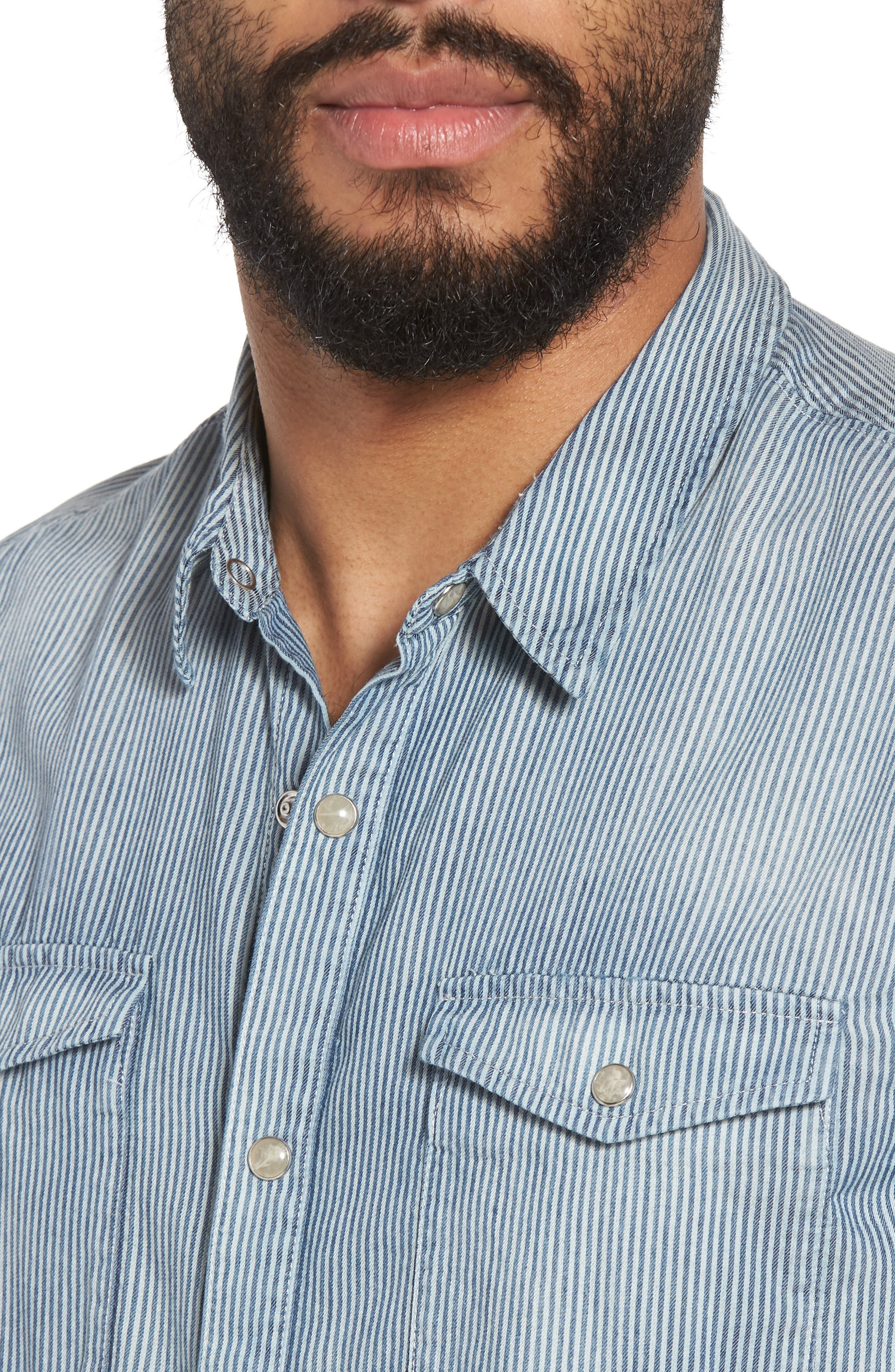 Stripe Extra Slim Fit Cotton Western Shirt,                             Alternate thumbnail 4, color,                             487
