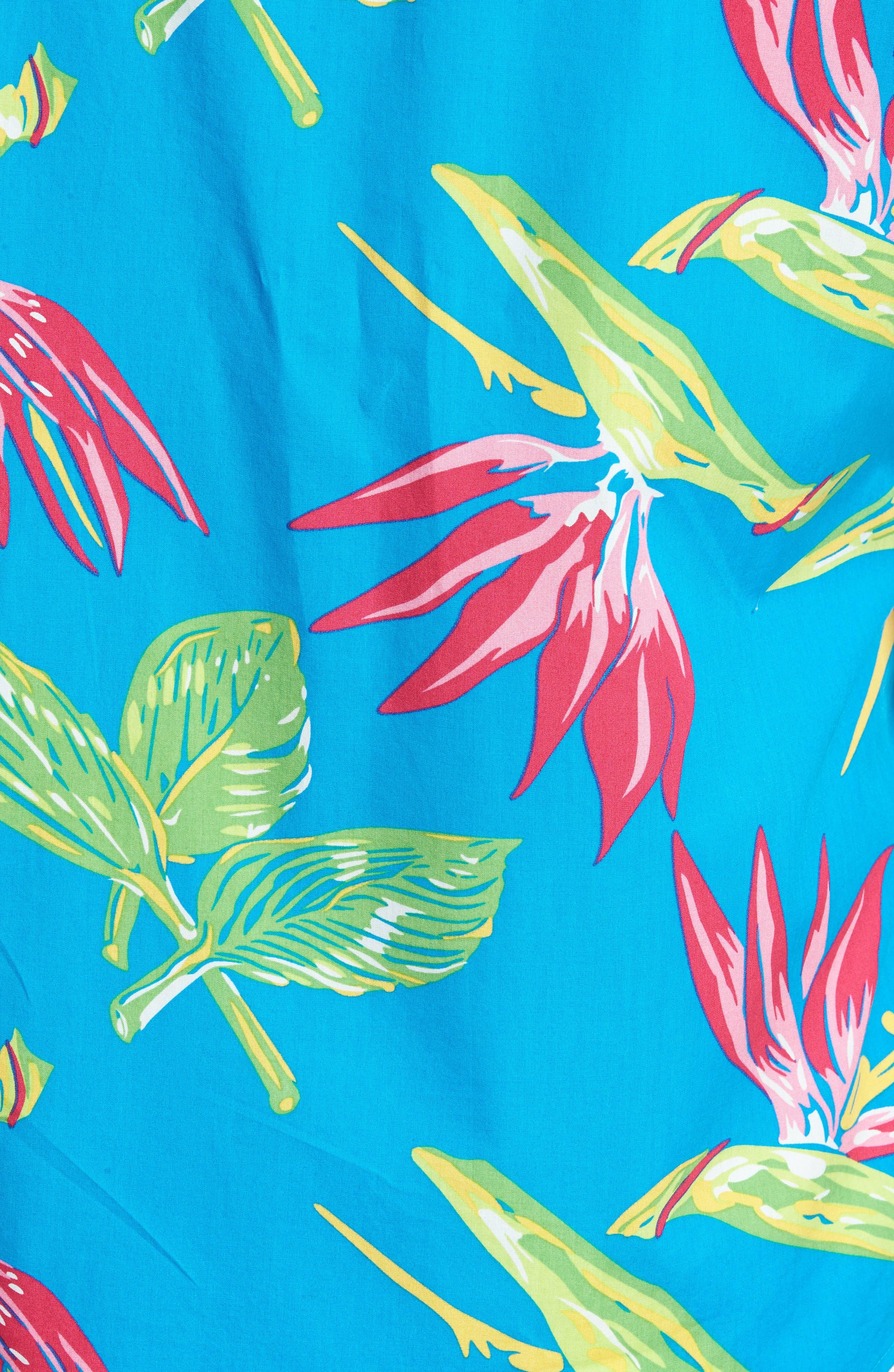 Slim Fit Print Short Sleeve Sport Shirt,                             Alternate thumbnail 5, color,                             400